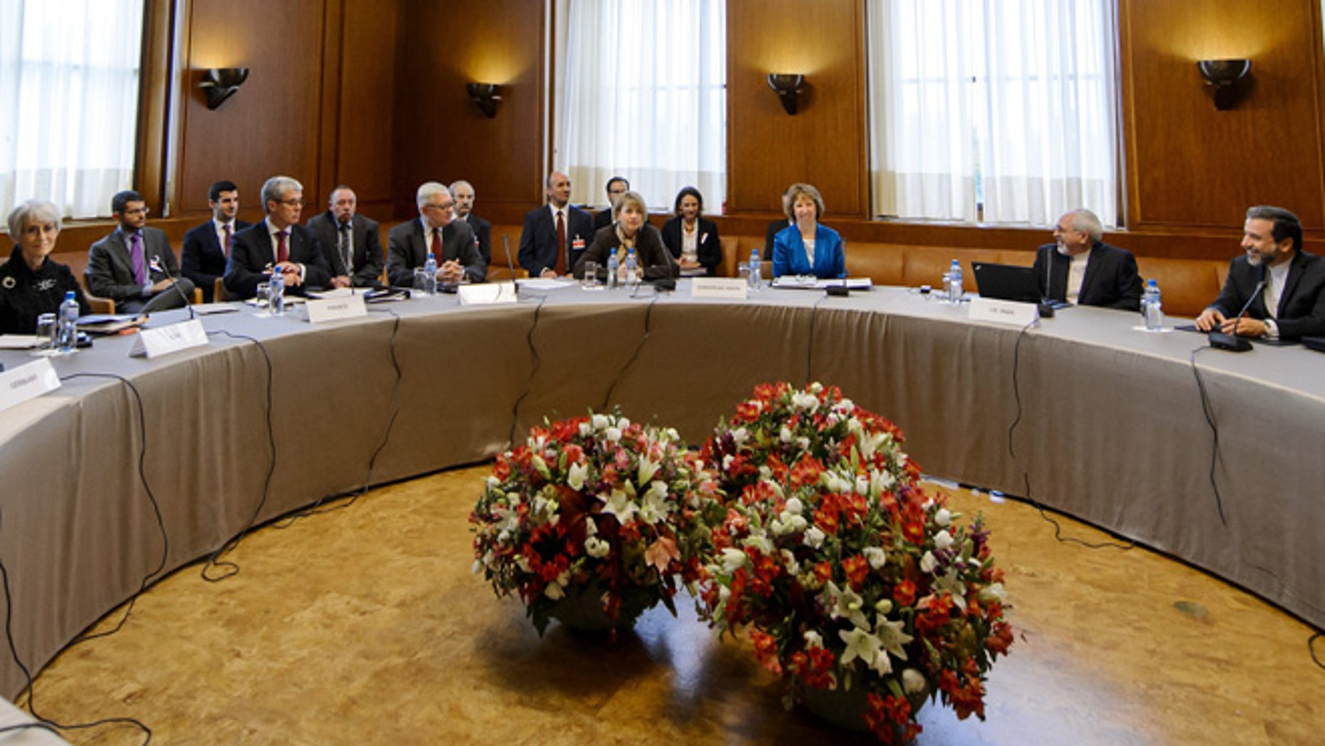 Oct. 15, 2013: A general view prior to the start of the two days of closed-door nuclear talks at the United Nations offices in Geneva, Switzerland.