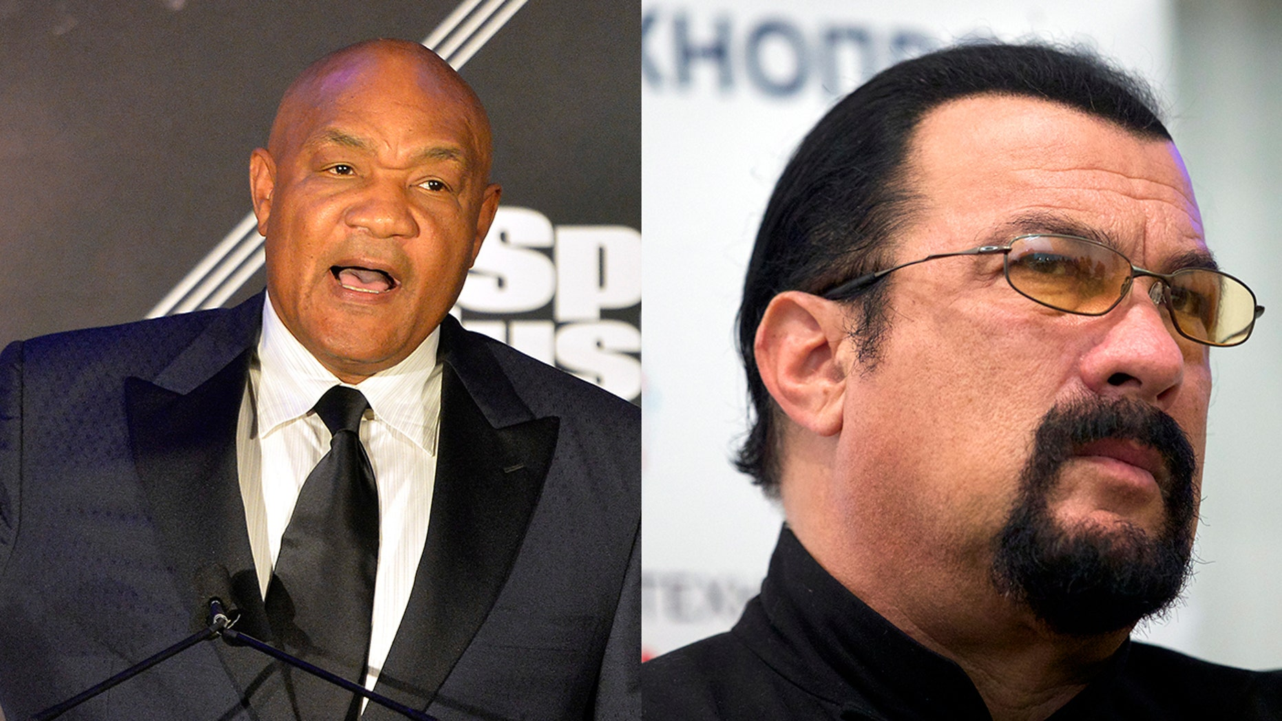 George Foreman, left, challenged Steven Seagal to a fight.