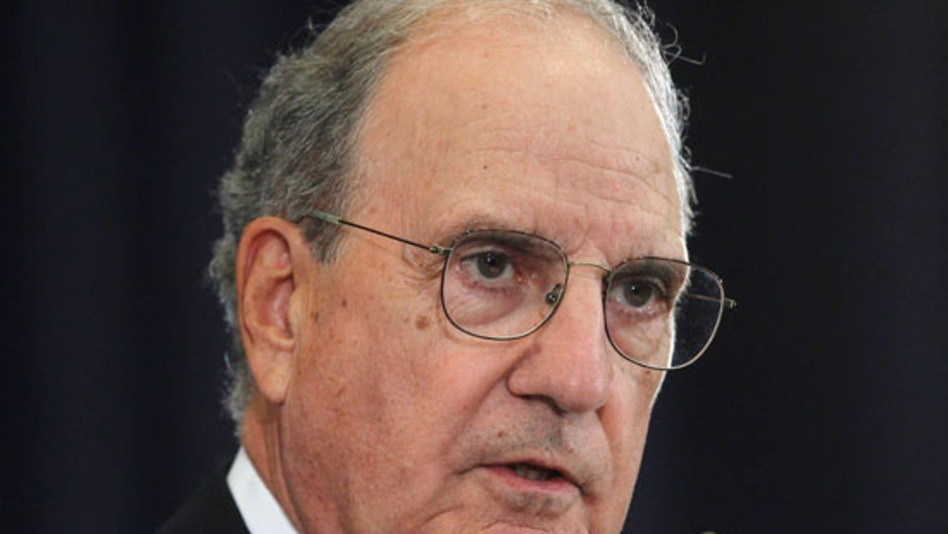 In this Sept. 2, 2010 file photo, Special Envoy for Middle East Peace George Mitchell briefs reporters the State Department in Washington. AP sources say that Mitchell plans to resign.