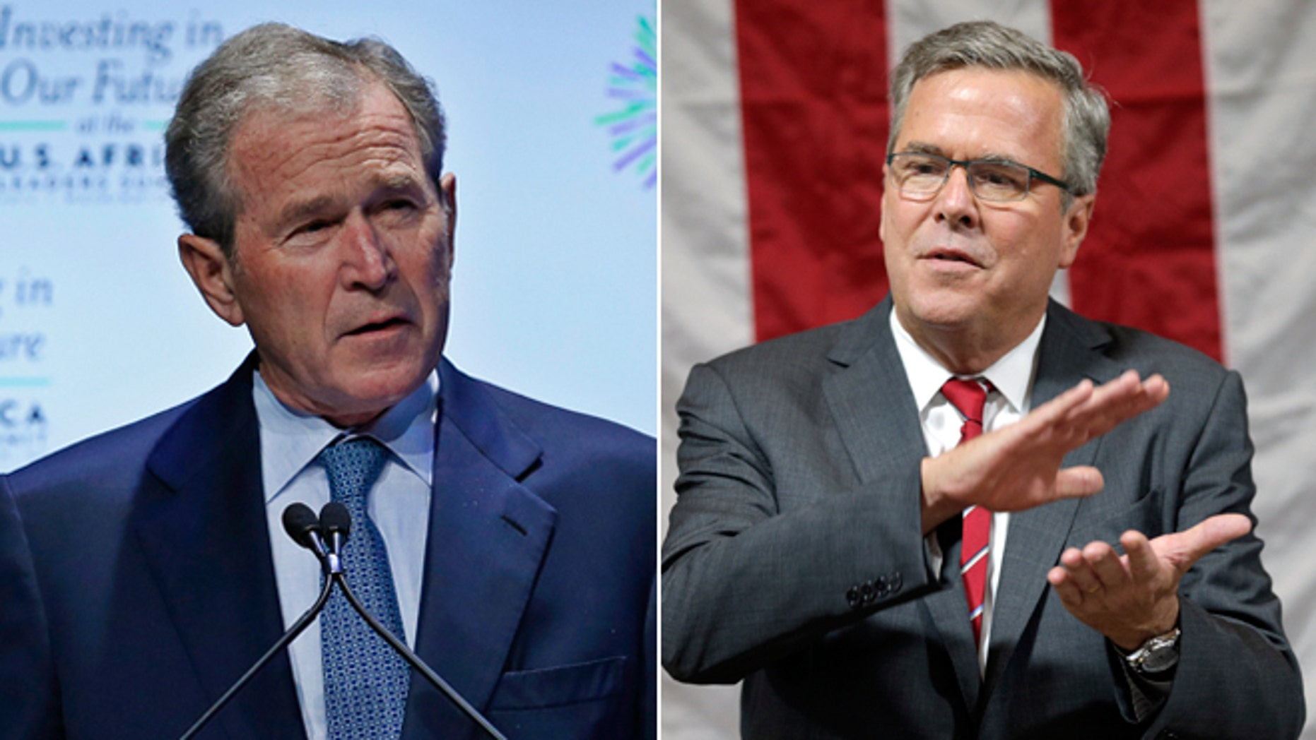 """In this Aug. 6, 2014 photo, former U.S. President George W. Bush speaks at the """"Investing in Our Future"""" forum at the US-Africa Leaders Summit in Washington and former Florida Gov. Jeb Bush speaks during an event in Greensboro, N.C. on Wednesday, Sept. 24, 2014. (AP Photo/Chuck Burton)"""