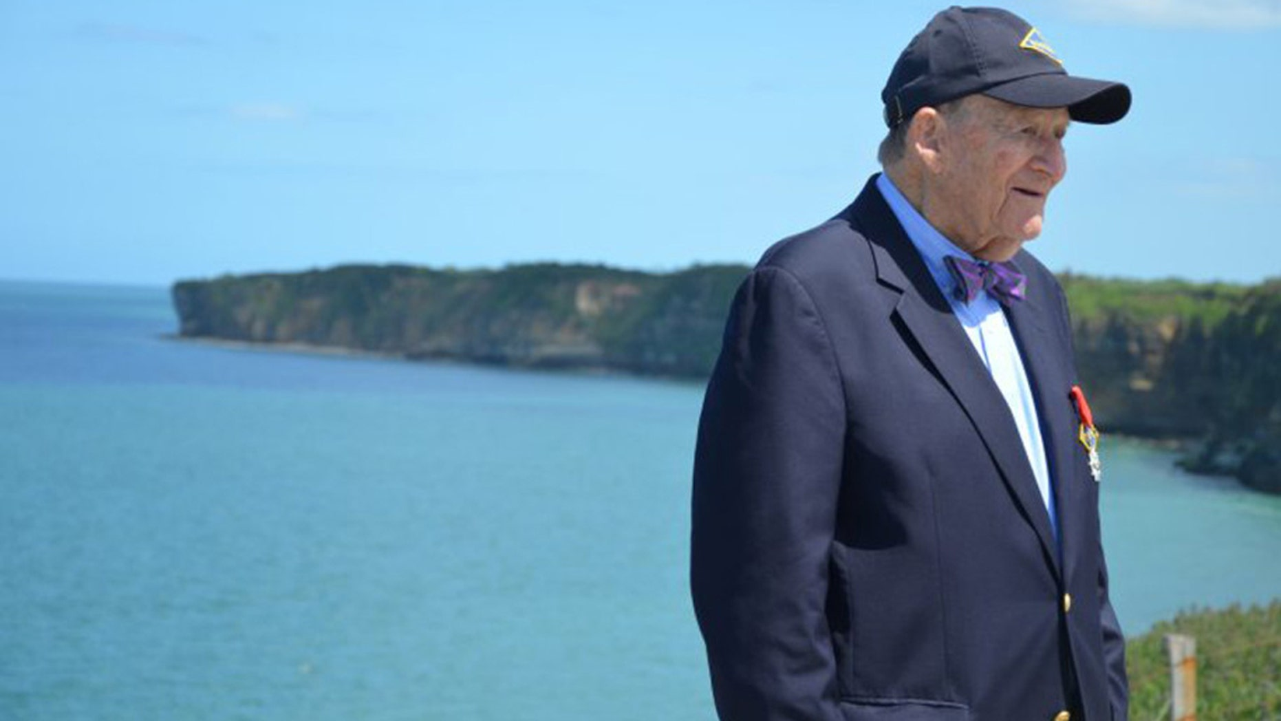 George Klein appears at a 2015 ceremony commemorating the landing of U.S. Army Rangers at Pointe du Hoc