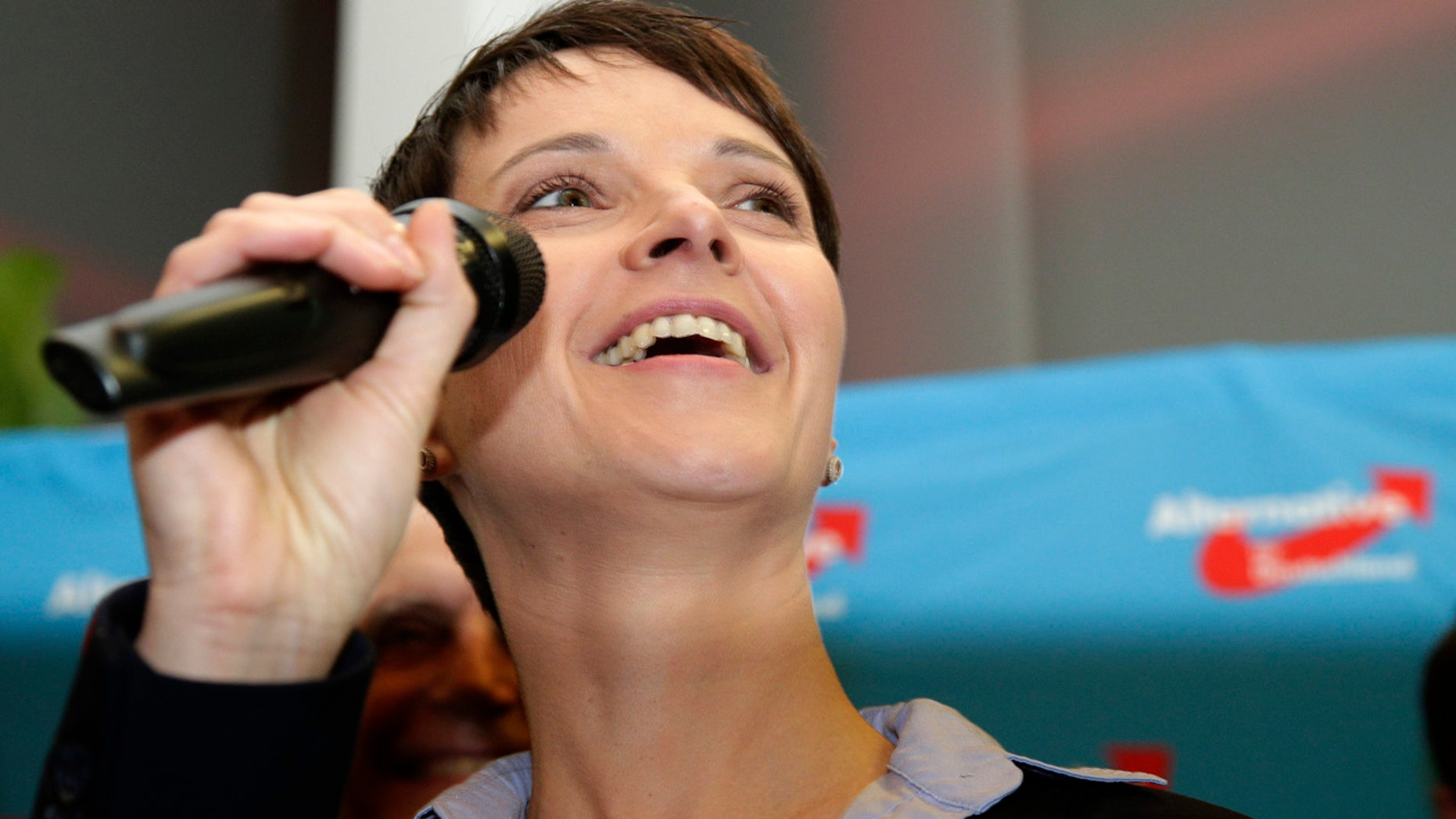 March 13, 2016: Frauke Petry, chairwoman of the right-populist AfD (Alternative for Germany) party, smiles as she speaks at a gathering after the closing of the state elections in the German federal states of Baden-Wuerttemberg, Rhineland-Palatinate and Saxony-Anhalt in Berlin. (AP Photo/Michael Sohn)