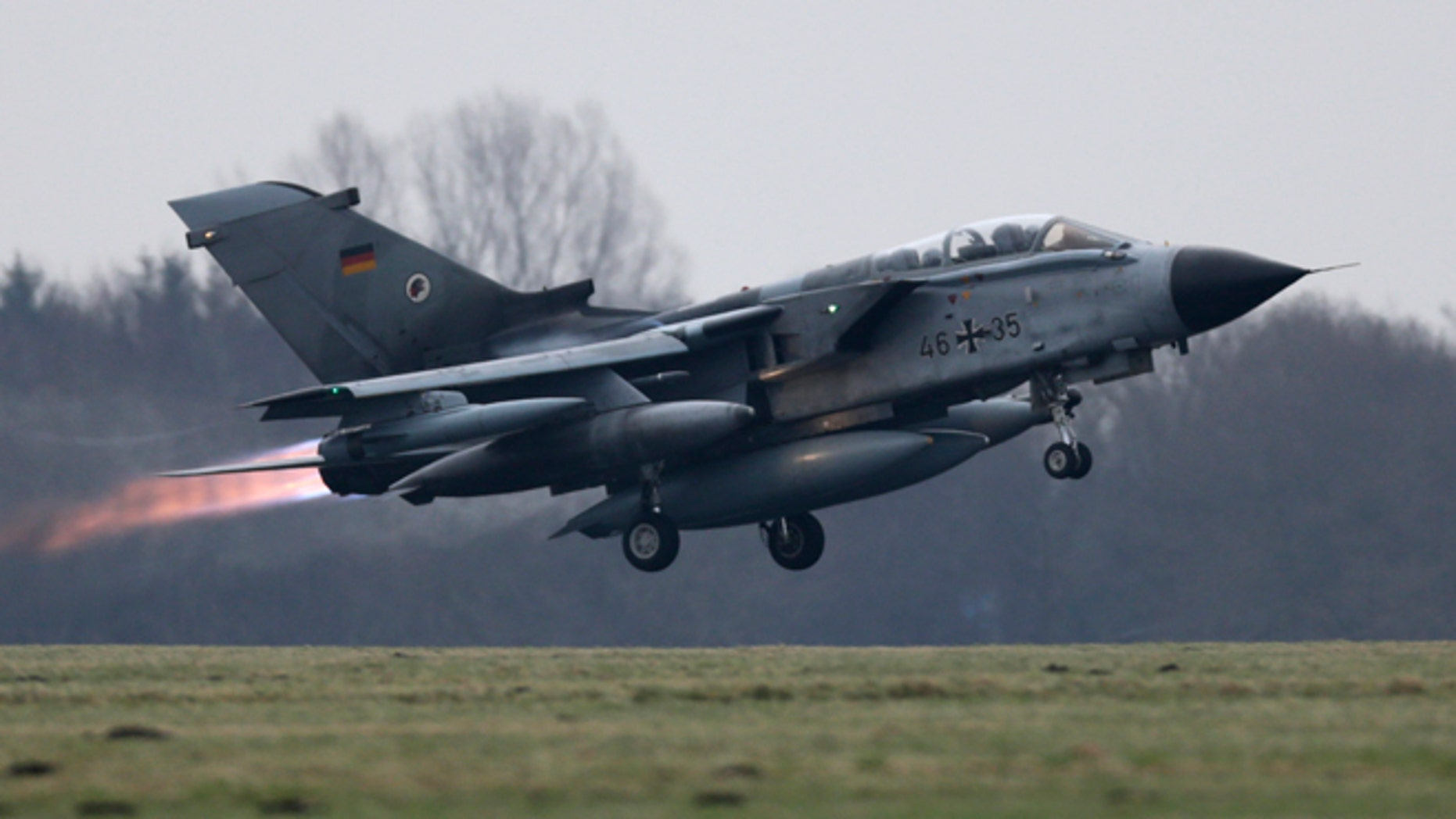Dec. 10, 2015: A German air force Tornado jet takes off from the German army Bundeswehr airbase in Jagel, northern Germany.