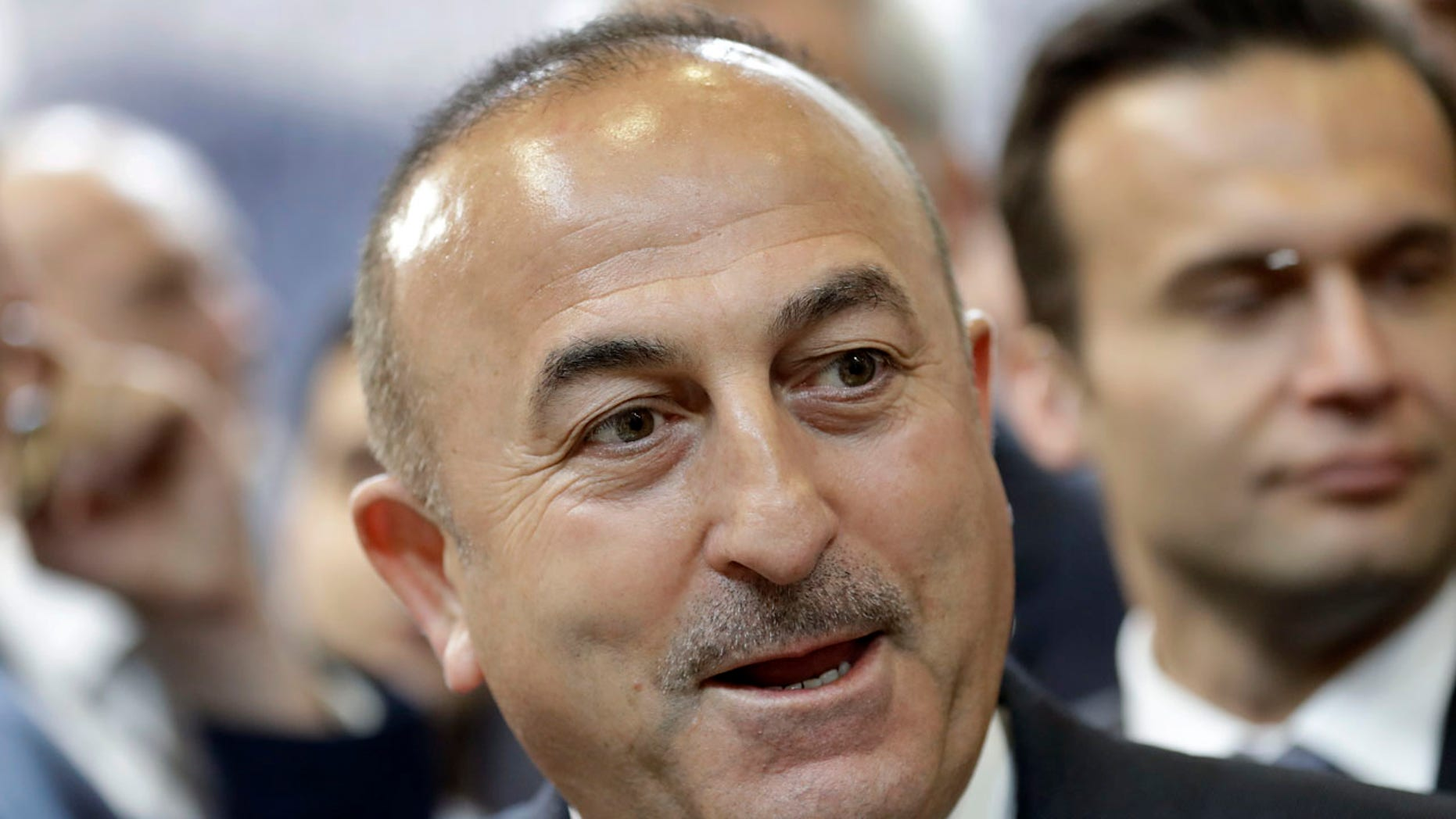 March 8, 2017: The Foreign Minister of Turkey Mevlut Cavusoglu speaks during a visit of the booth of Turkey at the tourism fair ITB in Berlin, Germany.