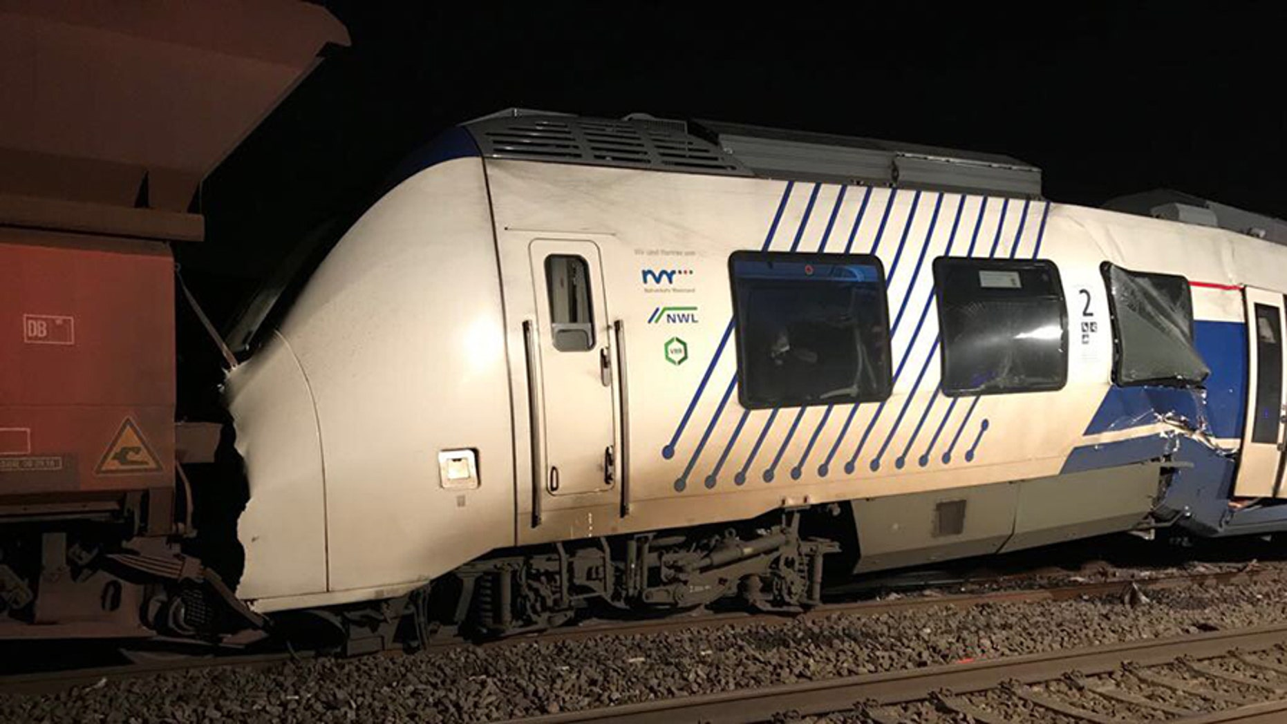 A passenger train hit a freight train in Germany Tuesday, leaving possibly 50 people injured, police said.