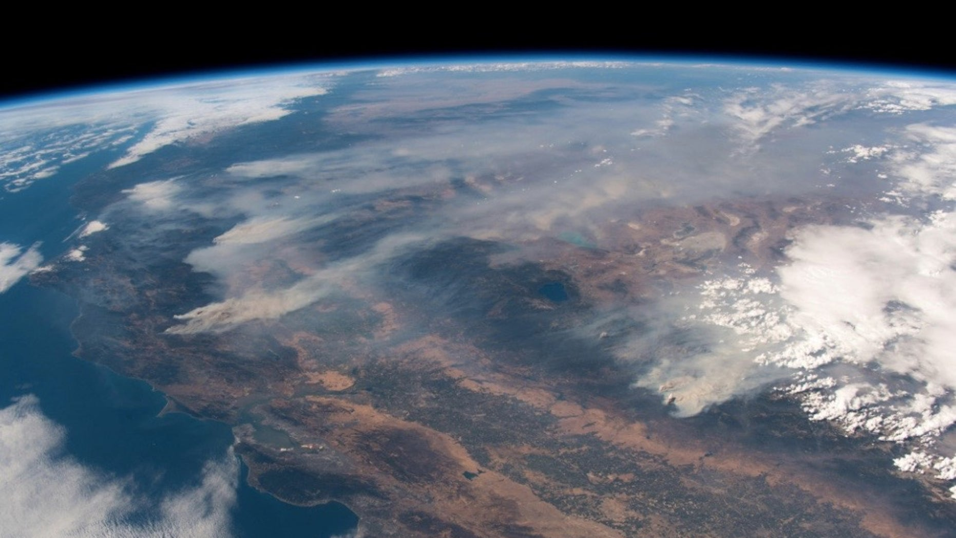 European Space Agency astronaut Alexander Gerst posted this view of the California wildfires, as seen from the International Space Station (ISS), on Twitter on Aug. 3, 2018.