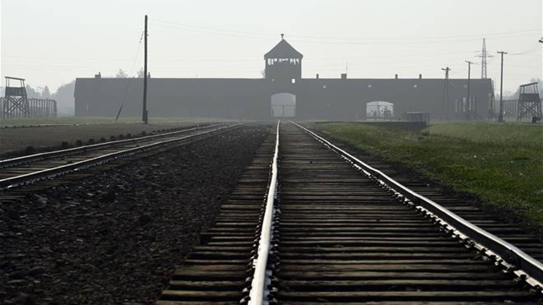 The entrance to the former Nazi German death camp of Birkenau in Oswiecim, Poland. (AP Photo/Alik Keplicz, File)