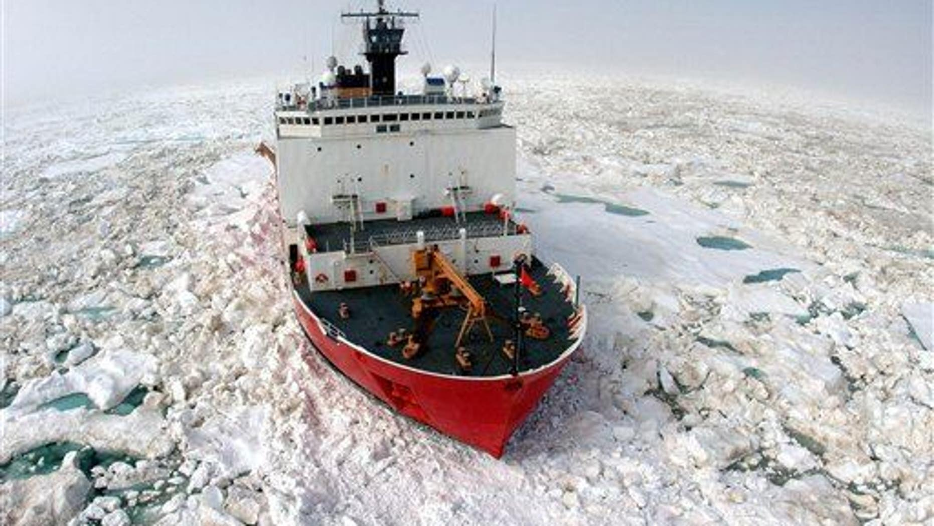 The Coast Guard Cutter Healy (not the ship set to go adrift) breaks ice to support scientific research in the Arctic Ocean near Barrow, Alaska, on July 22, 2006.
