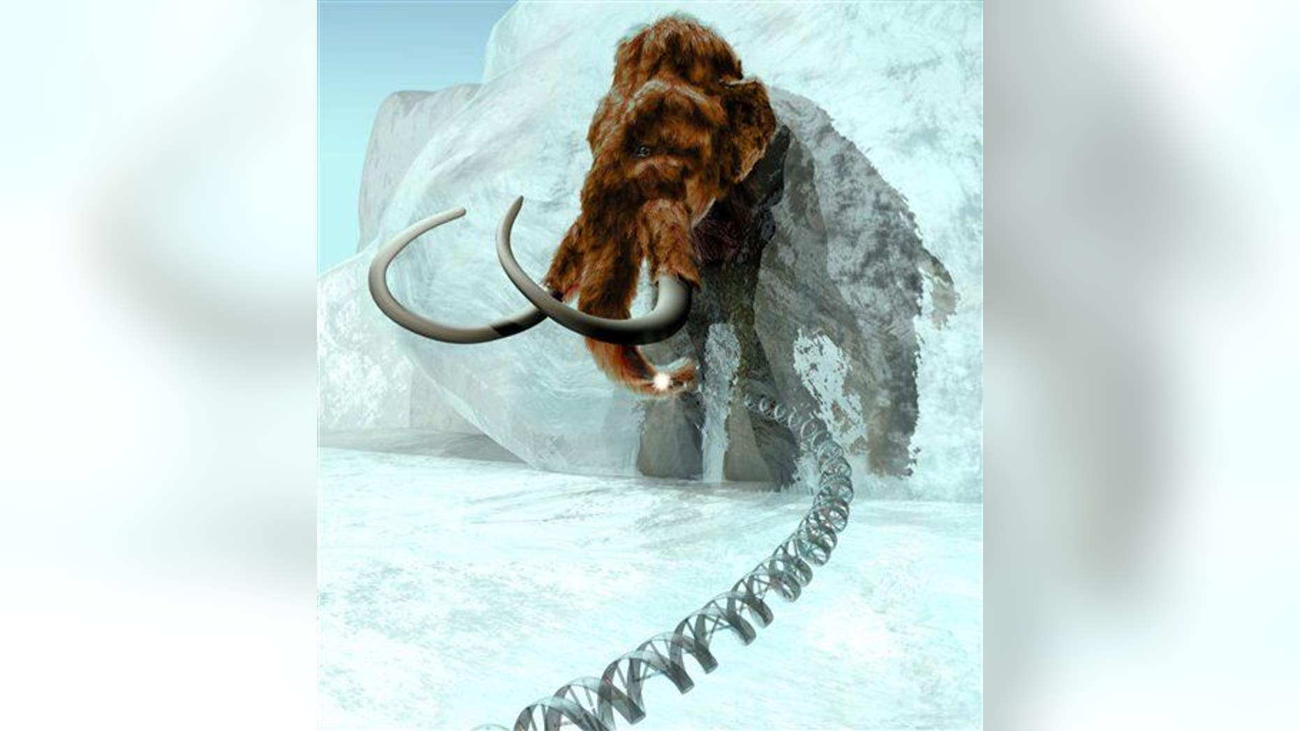 A 3D computer-generated image produced by ExhibitEase LLC  shows a  woolly mammoth emerging from ice block.