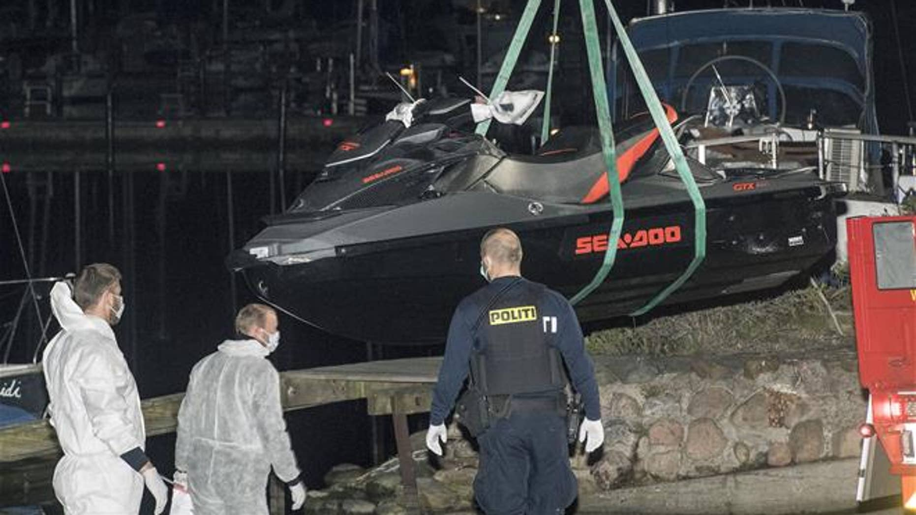Emergency services at the scene of a jet ski accident near Copenhagen, Denmark, on May 6, 2017.