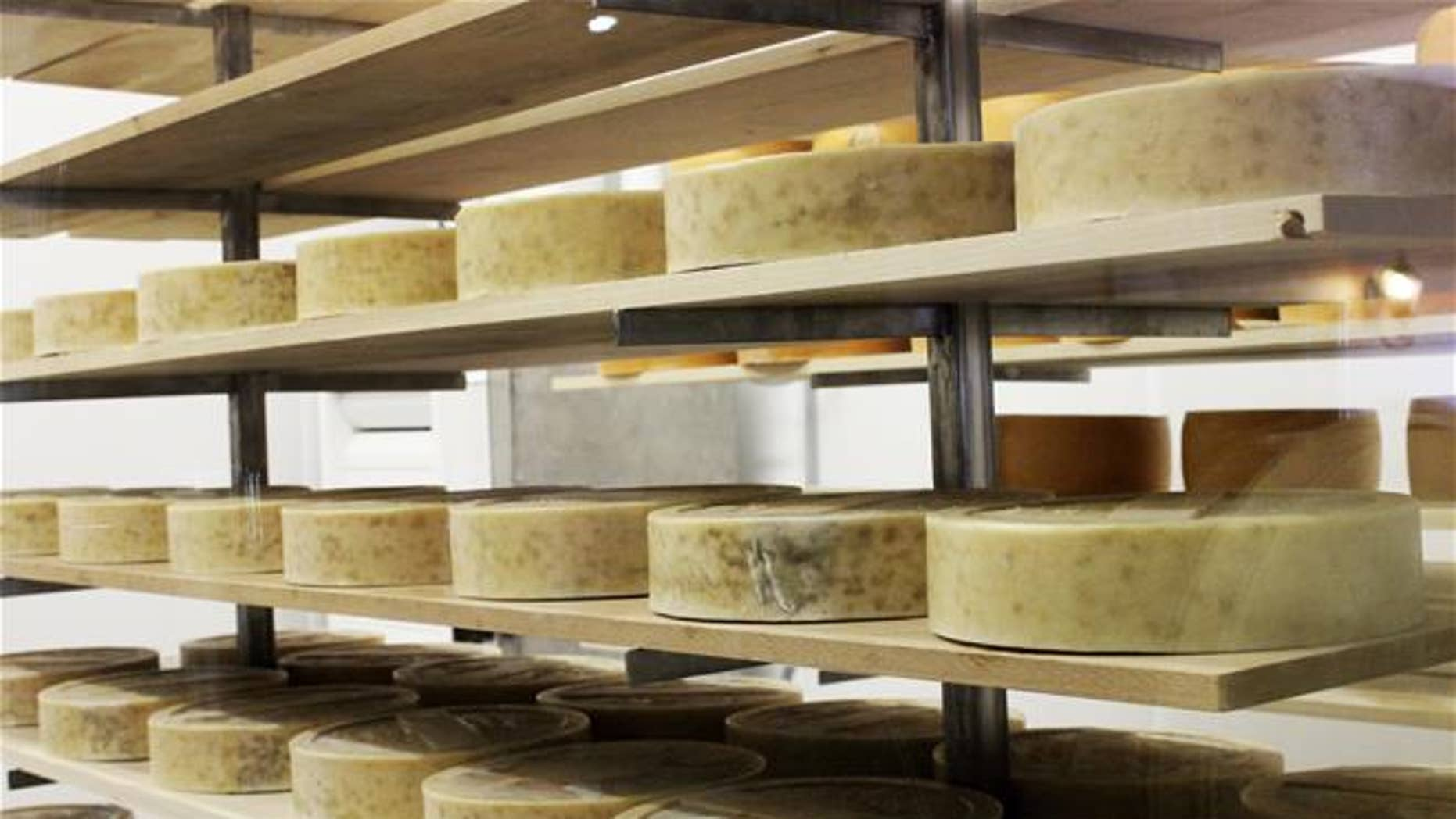 Cheese ages at LaClare Farms near Pipe, Wis.