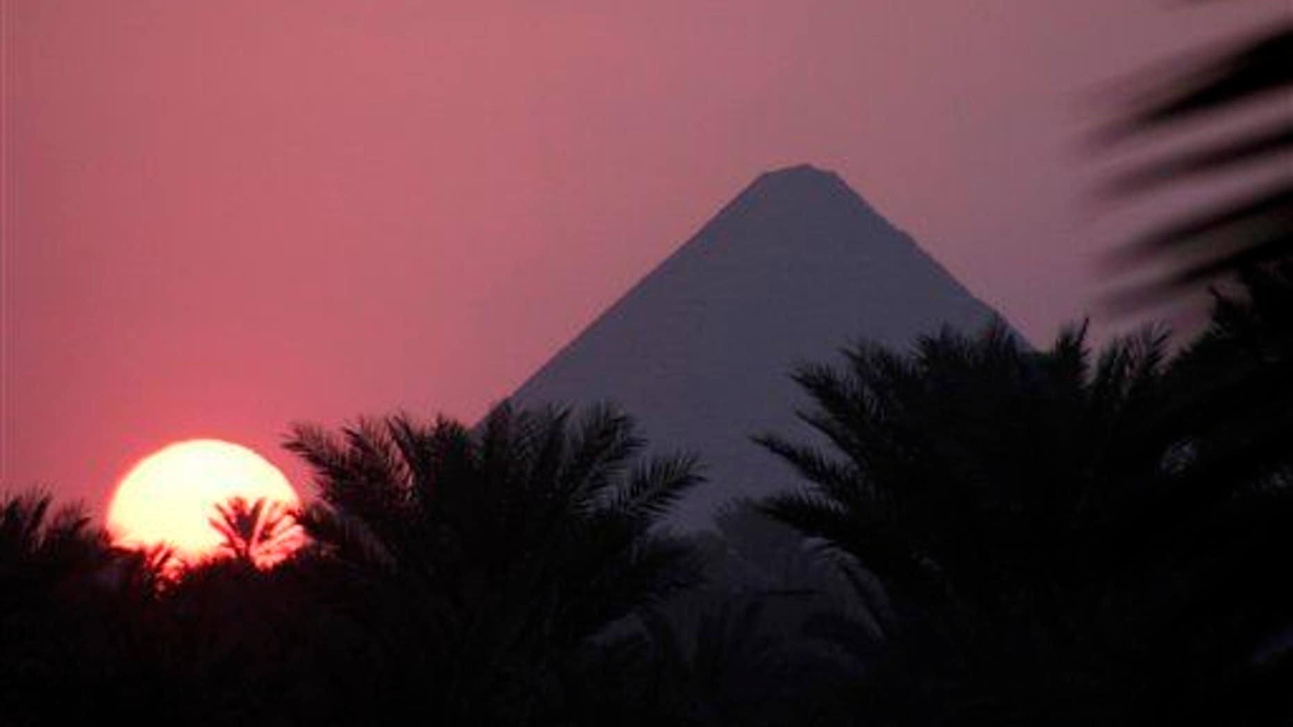 An ancient Dahshur pyramid is captured in silhouette in this file photo.