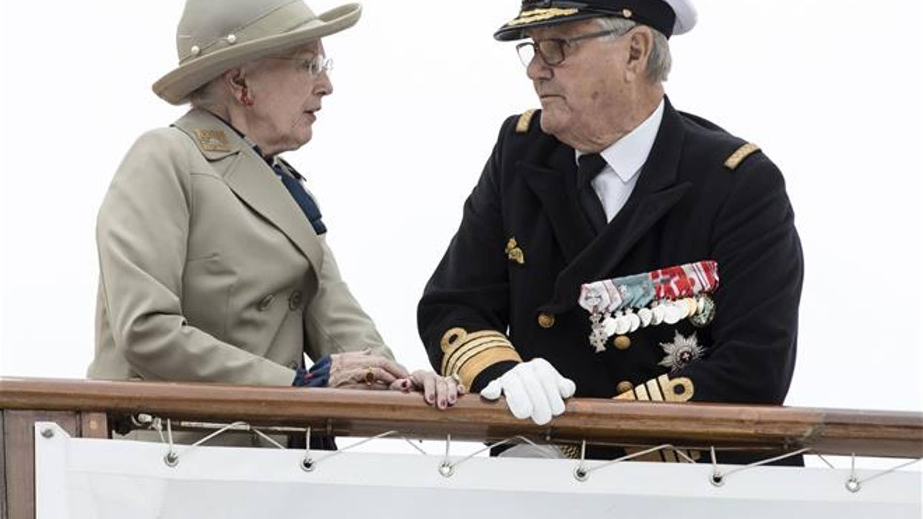 Danish Queen Margrethe and Prince Henrik arrive at Aarhus Harbour.