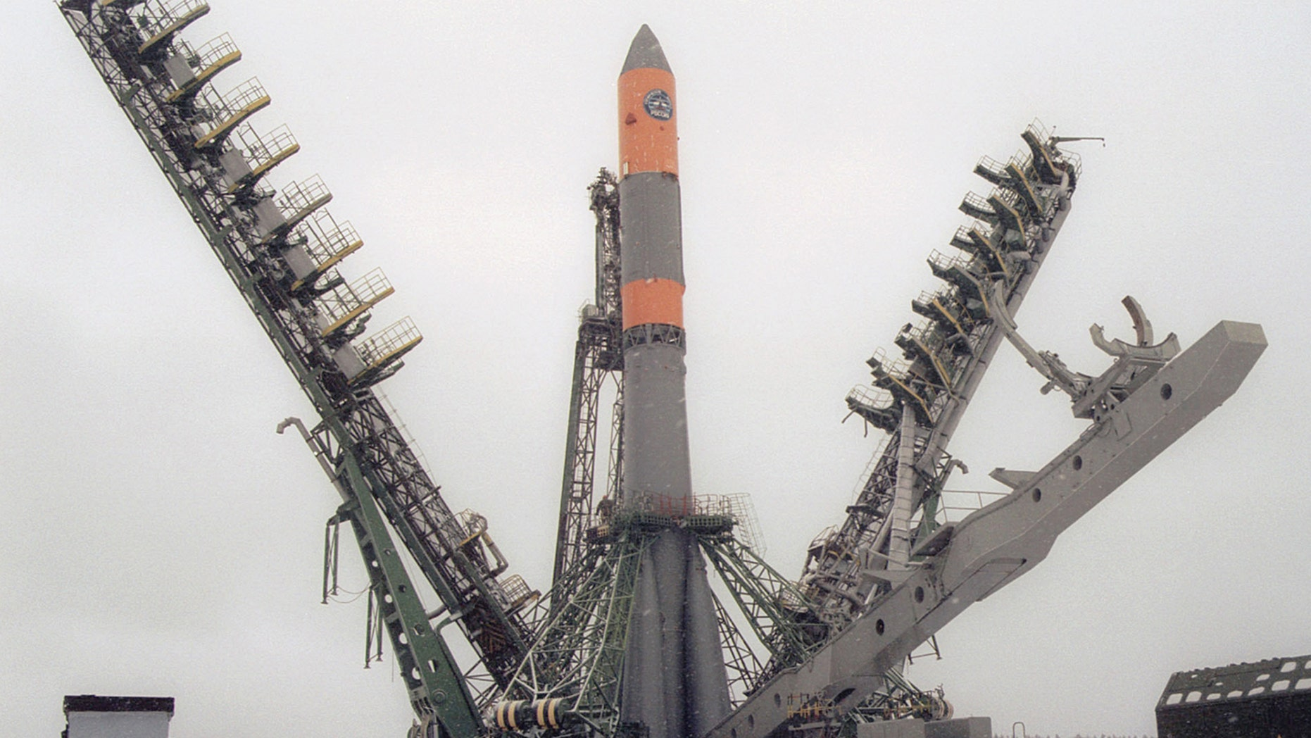 A molniya-m booster rocket is seen at a launching pad of the Plesetsk Cosmodrome shortly before its firing, Arkhangelsk region, Russia, April 2, 2003.,