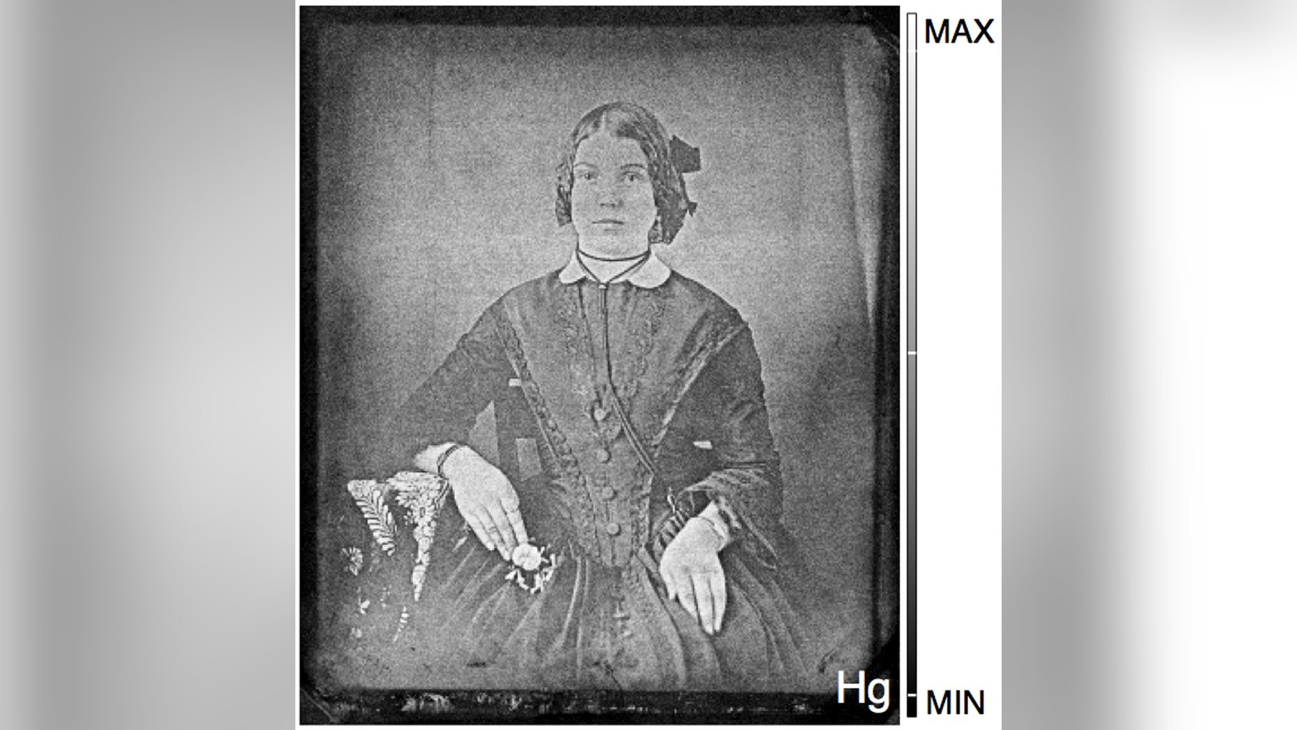 An image of a woman is recovered from a 19th-century daguerreotype that had tarnished almost beyond recognition. With the novel process, researchers mapped its mercury content and brought the 'ghost' back to life. (Credit: National Gallery of Canada/Western University)