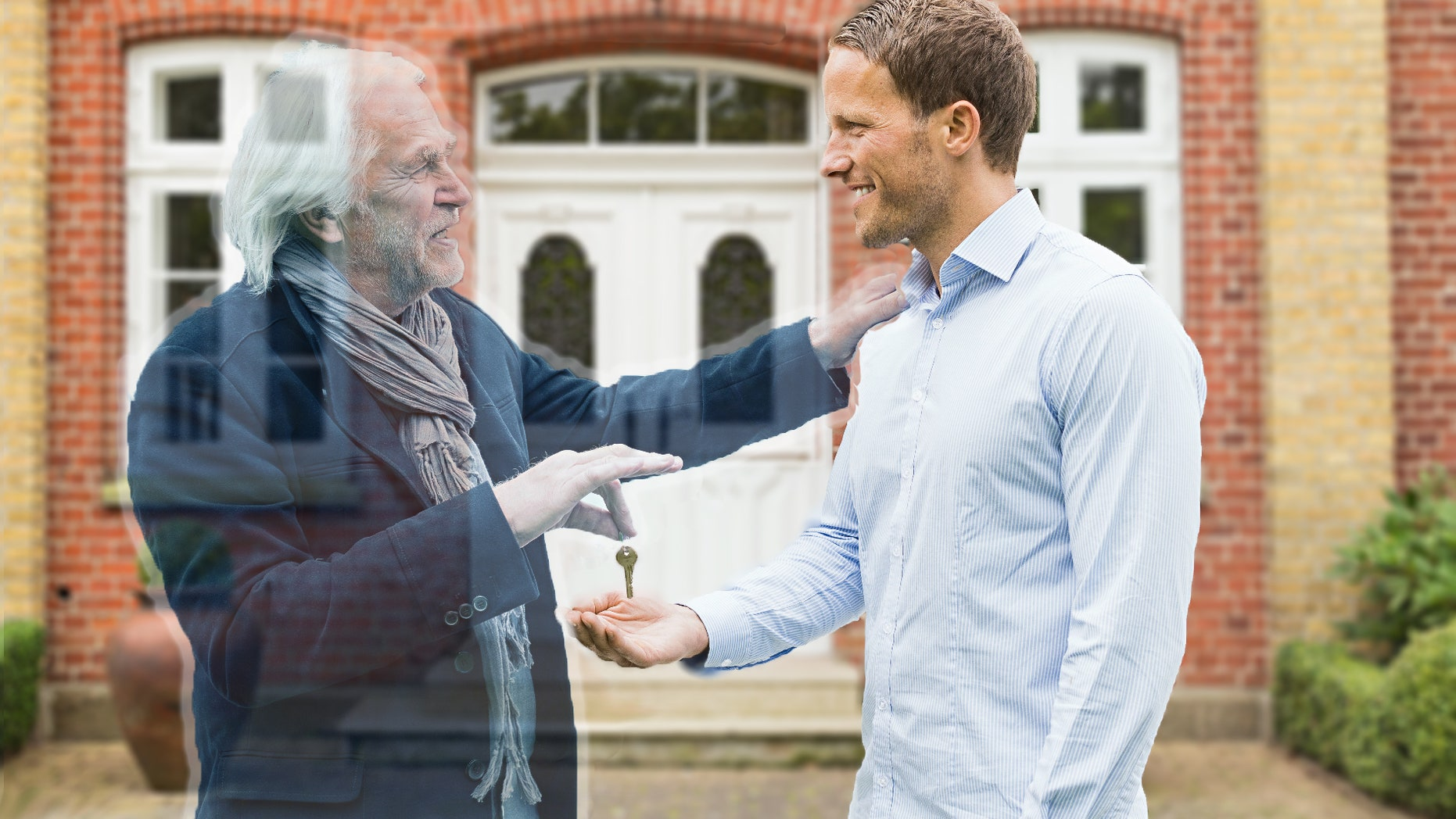 Ghost dad gives house keys to son.