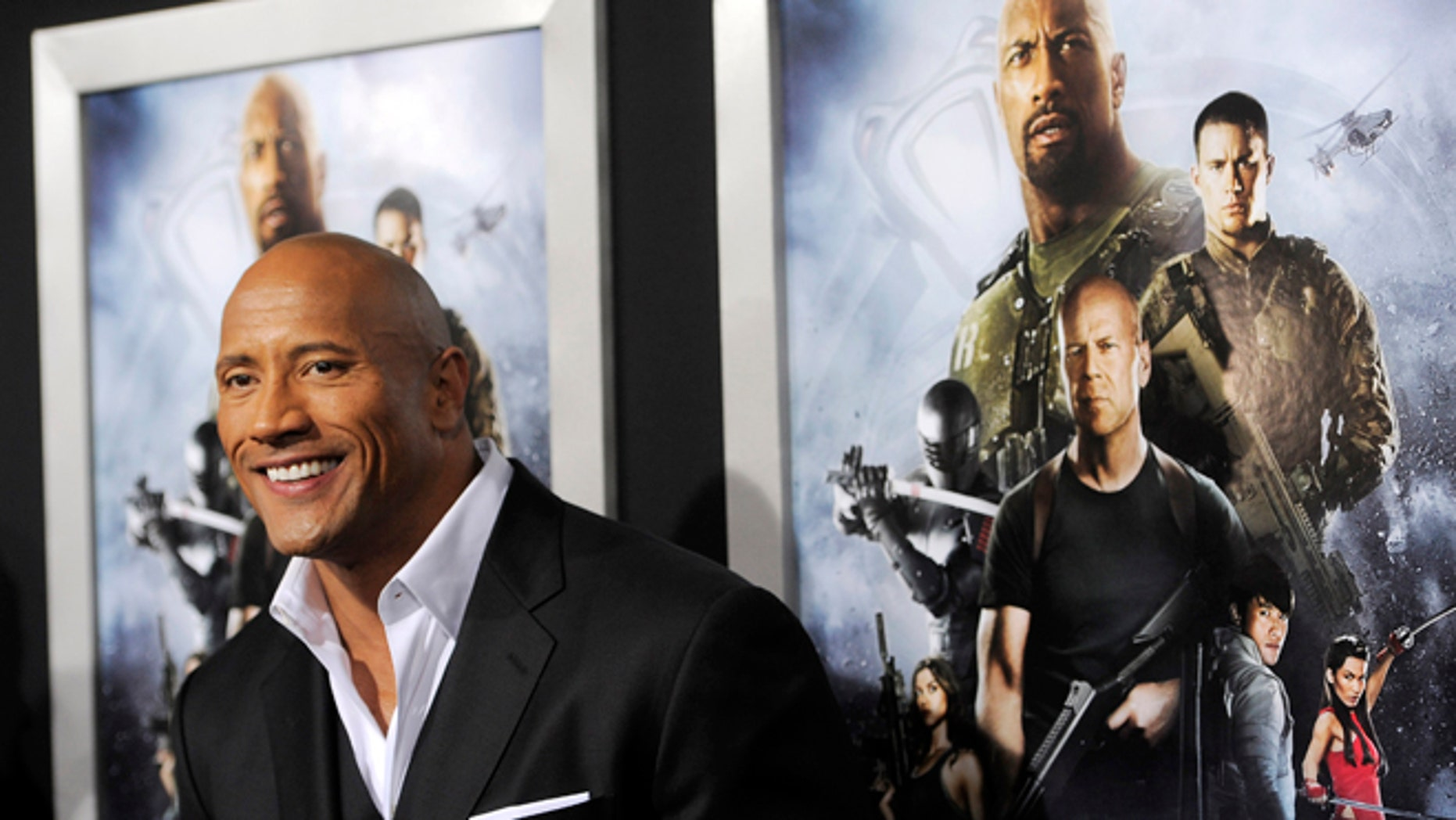 "March 28, 2013: Dwayne Johnson, a cast member in ""G.I. Joe: Retaliation,"" poses at the Los Angeles premiere of the film at the TCL Chinese Theatre in Los Angeles."