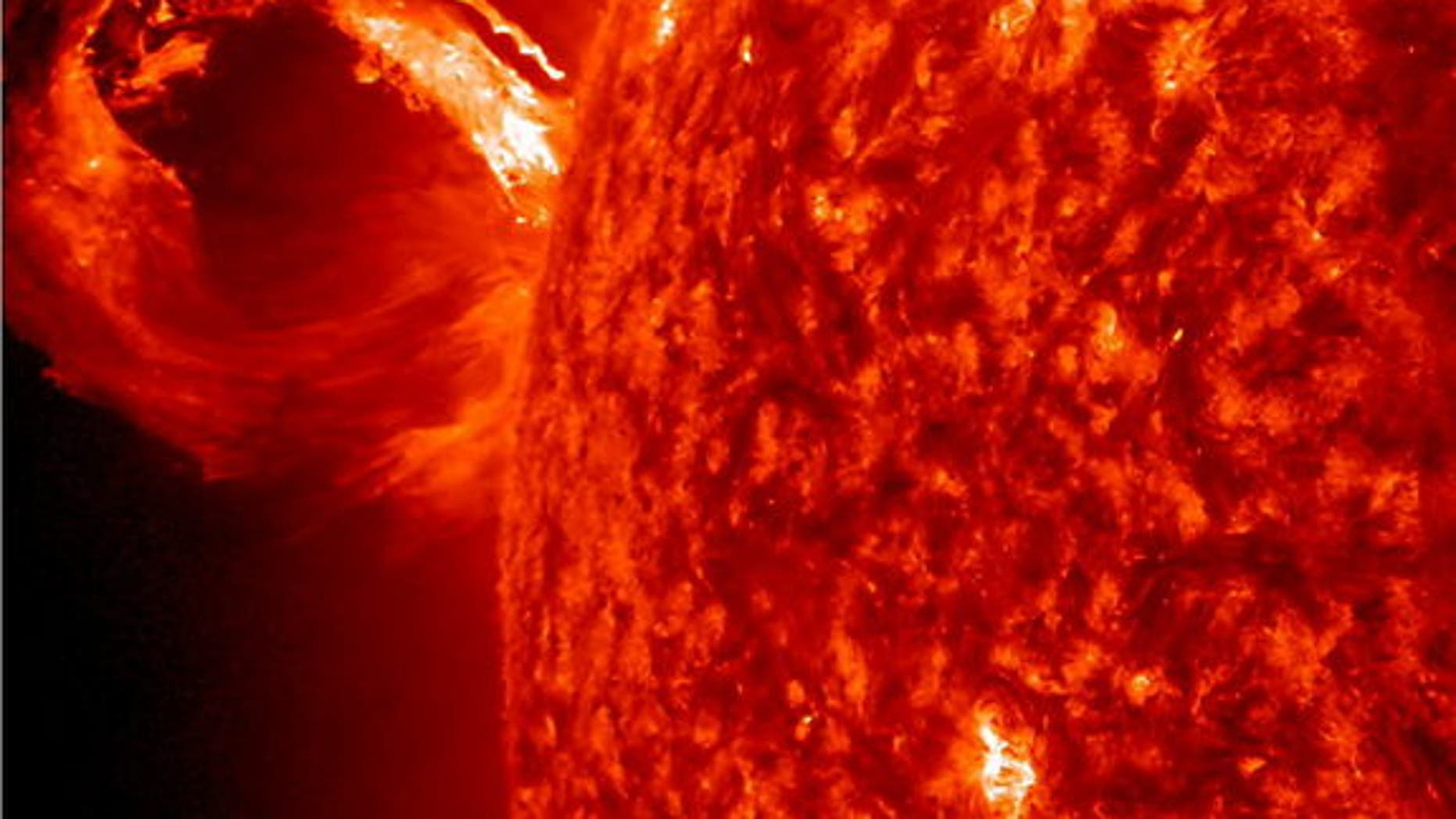 A coronal mass ejection (CME) erupted from just around the edge of the sun on May 1, 2013, in a gigantic rolling wave. CMEs can shoot over a billion tons of particles into space at over a million miles per hour. This CME occurred on the sun's l