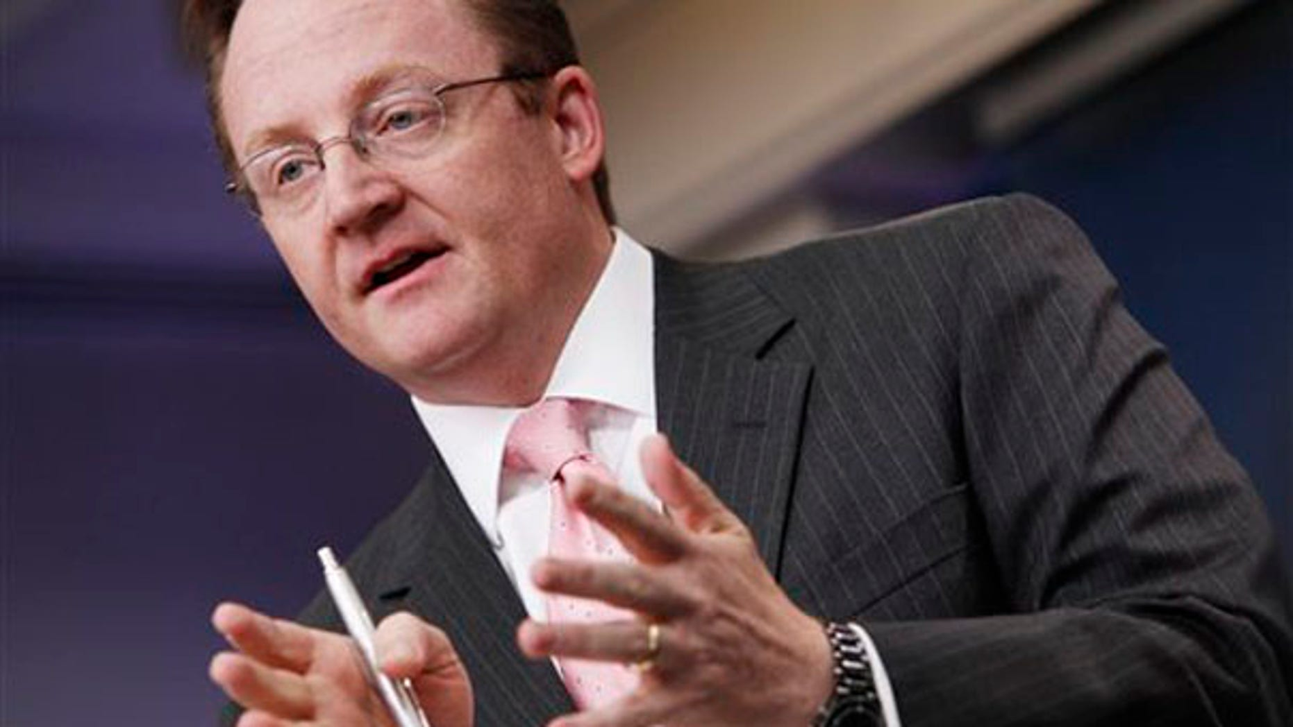 FILE: Robert Gibbs, as White House press secretary, briefs reporters in Washington.
