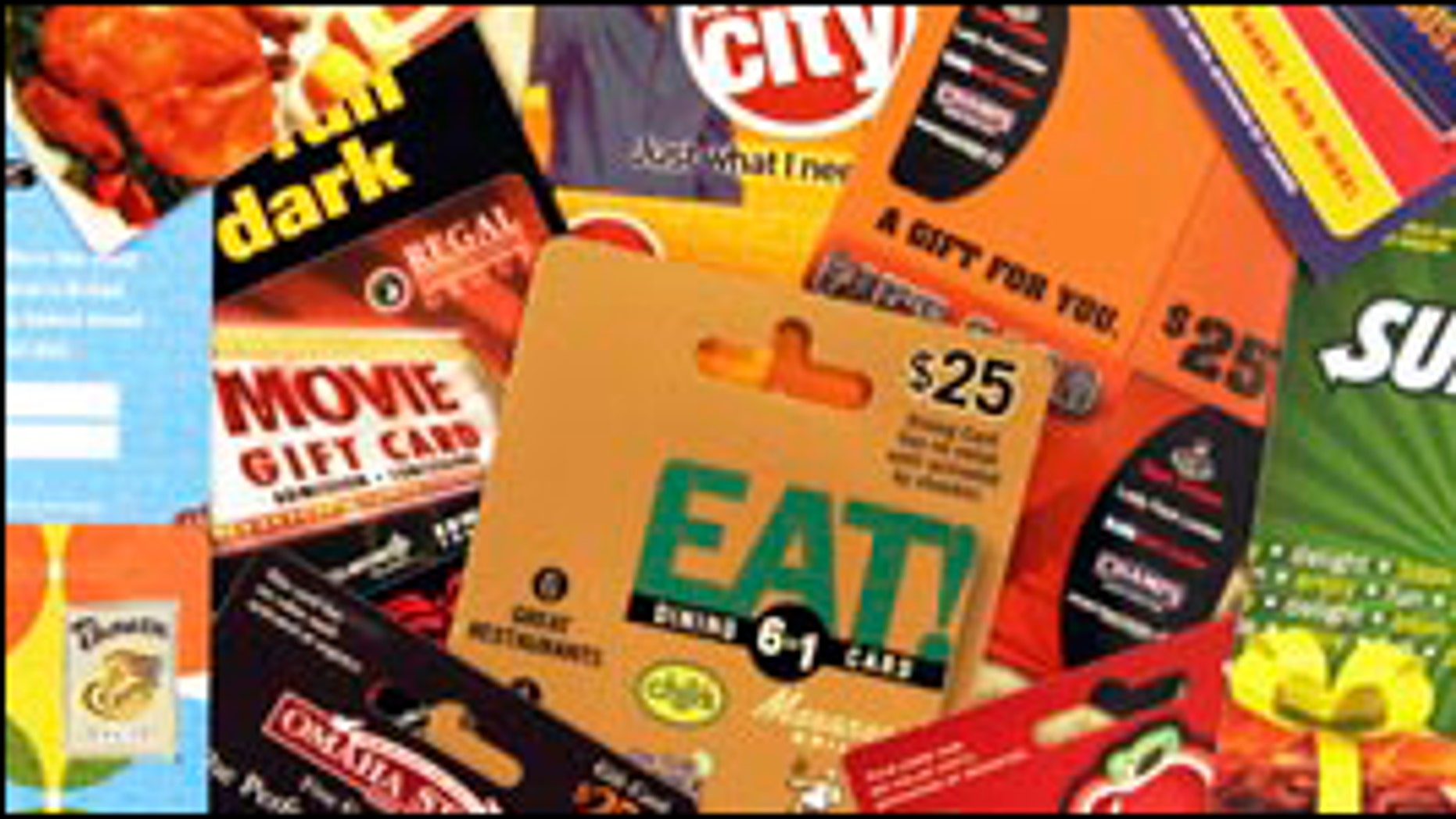 ** FILE ** A variety of gift cards for use at various stores and restaurants are seen at a convenience store in Brunswick, Maine, in this Dec. 12, 2007 file photo. The state of Maine wants its share of gift cards that go unused, and State Treasurer David Lemoine is asking the attorney general to look into what the state can do to enforce the new law. So far, out-of-state retailers have either refused to pay or have challenged the legality of the law.  (AP Photo/Pat Wellenbach, file)