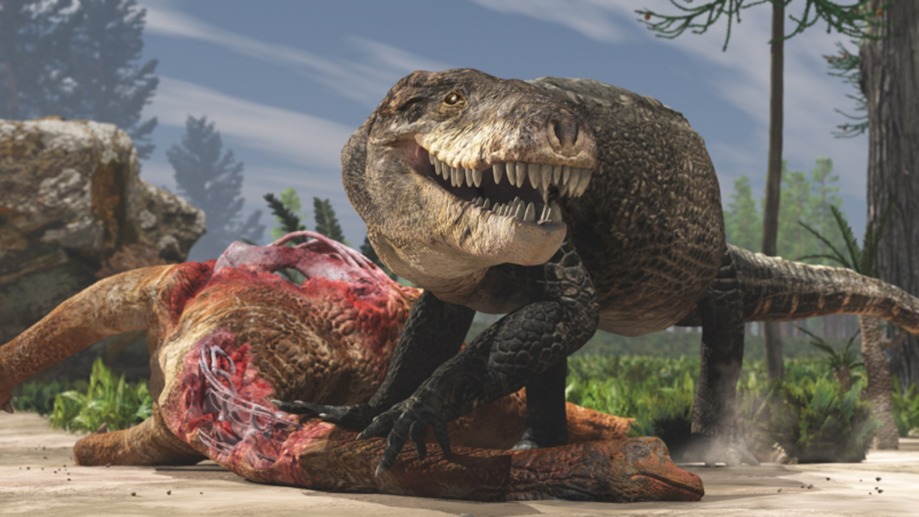 A paleoartistic restoration of Razanandrongobe sakalavae scavenging on a sauropod carcass in the Middle Jurassic of Madagascar. Unlike extant crocodilians, this terrestrial predator had a deep skull and walked on erect limbs. Credit: Fabio Manucci