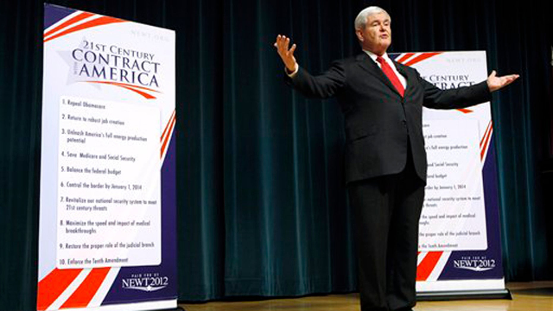 Sept. 29, 2011: Former House Speaker Newt Gingrich speaks during a town hall meeting with employees at the Principal Financial Group in Des Moines, Iowa.