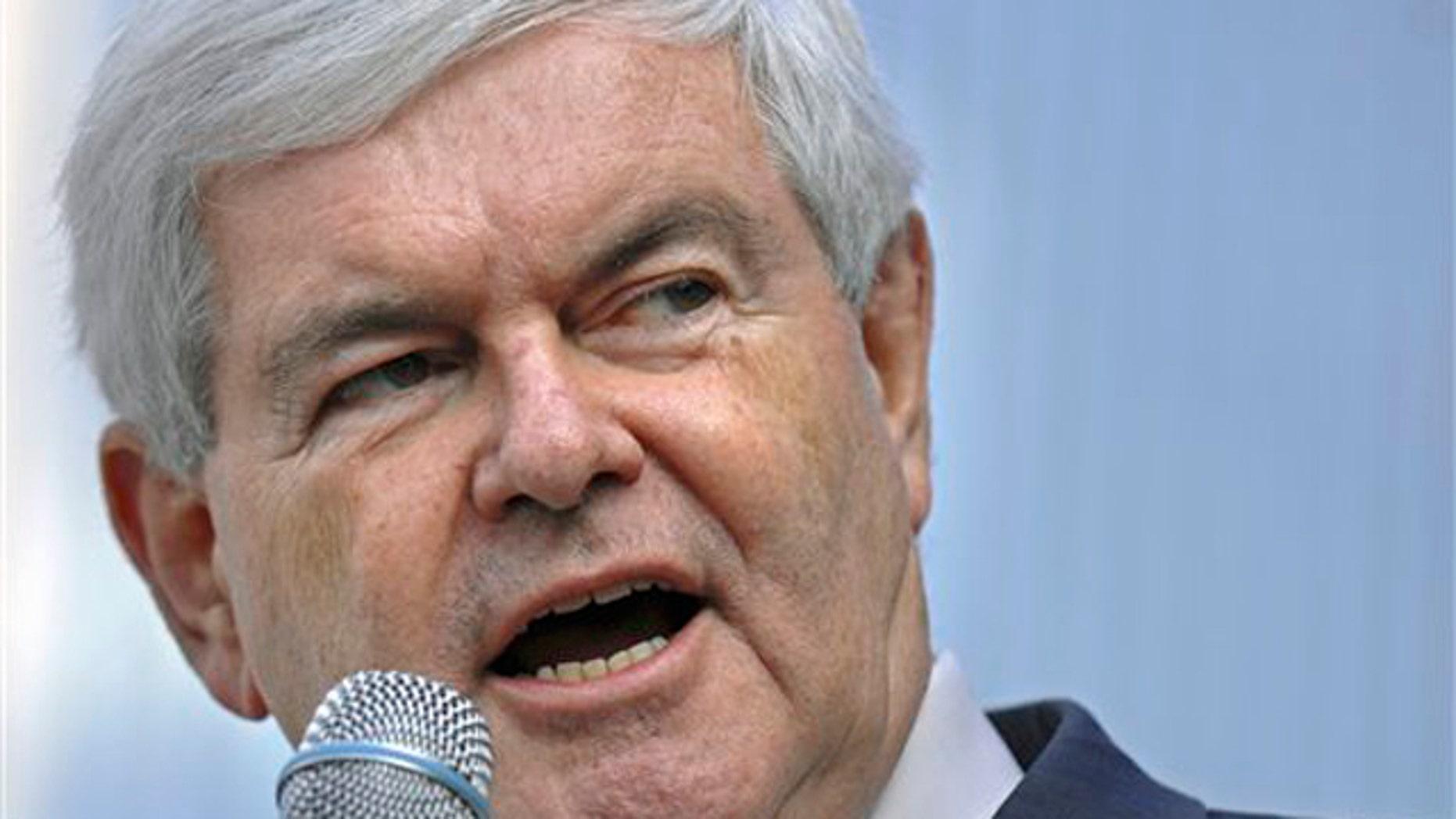 Nov. 17, 2011: Former House Speaker Newt Gingrich speaks during a rally in Jacksonville, Fla.