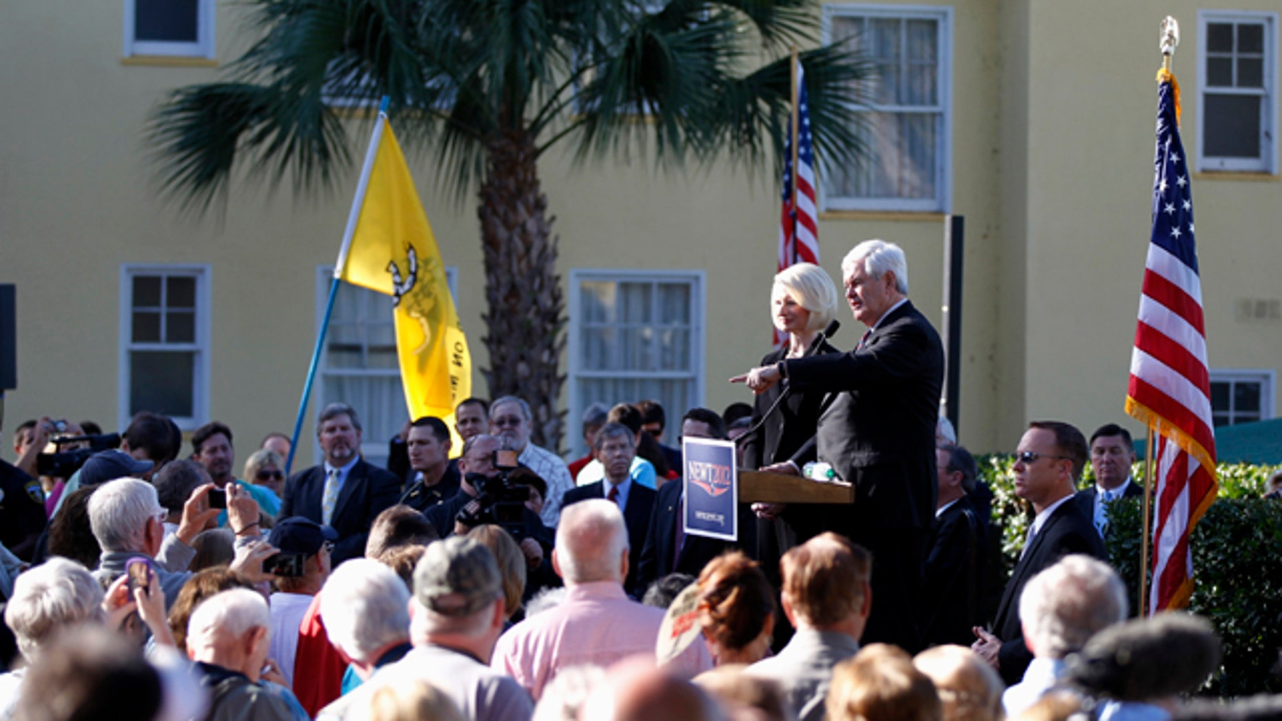 Jan. 26, 2012: Republican presidential candidate, former House Speaker Newt Gingrich, accompanied by his wife Callista, speaks at a Tea Party Rally in Mount Dora, Fla.
