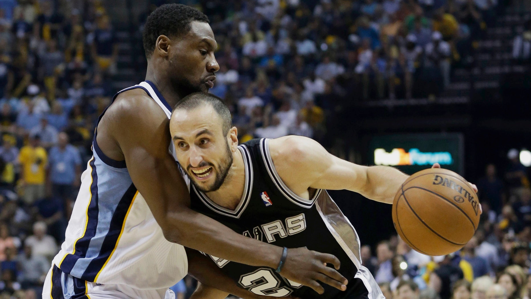 Memphis Grizzlies guard Tony Allen, left, defends San Antonio Spurs guard Manu Ginobili, of Argentina, during the second half in Game 3 of the Western Conference finals NBA basketball playoff series in Memphis, Tenn., Saturday, May 25, 2013. The Spurs defeated the Grizzlies 104-93 in overtime. (AP Photo/Danny Johnston)