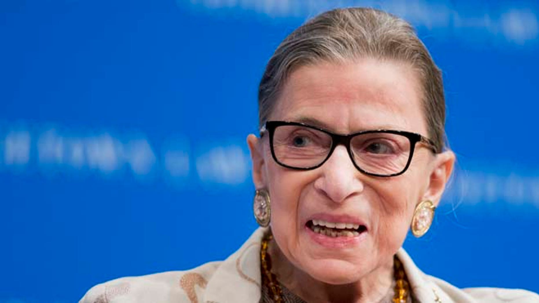Feb. 4, 2015: Supreme Court Justice Ruth Bader Ginsburg speaks at a lecture in Washington.