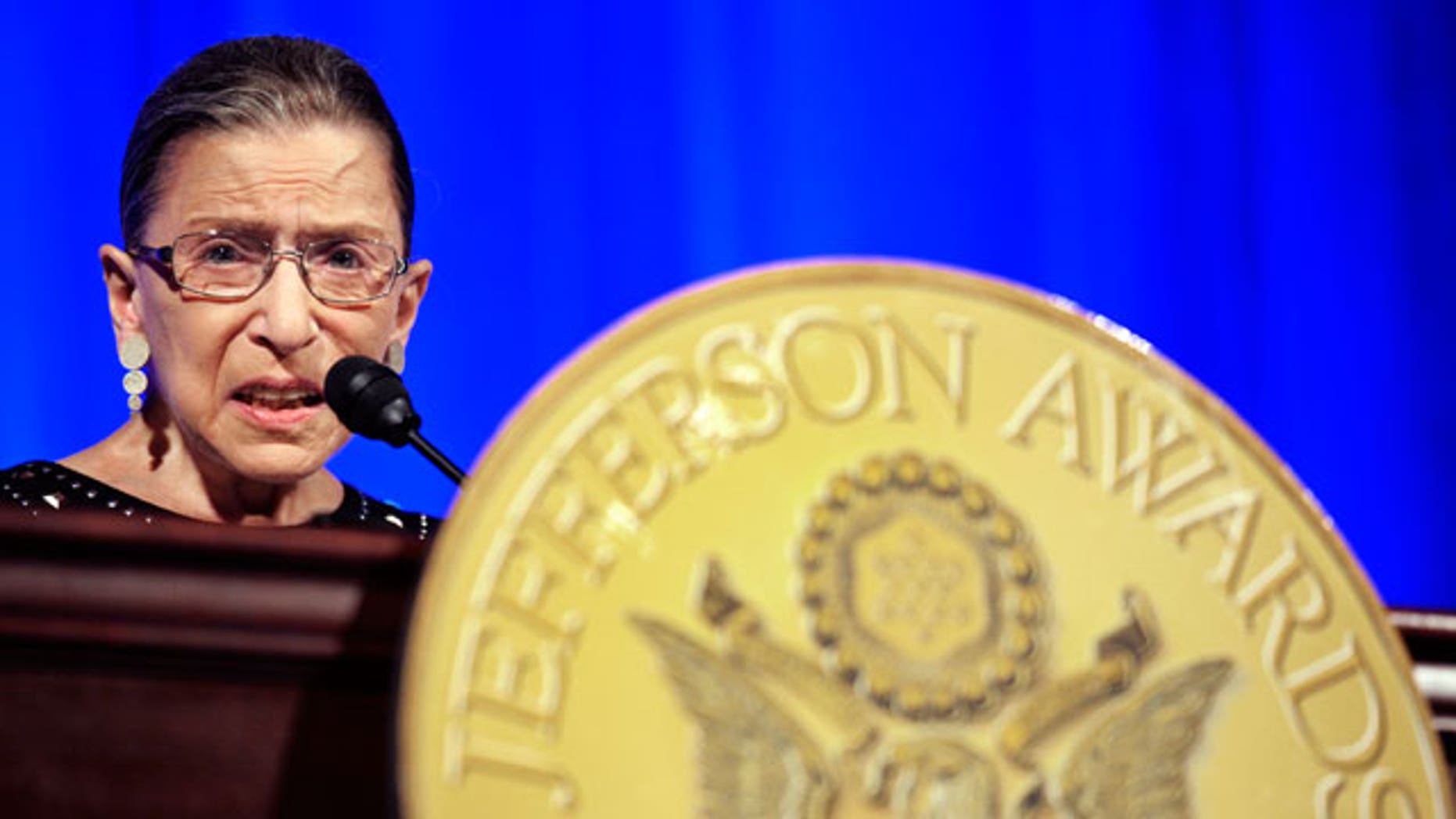 Supreme Court Associate Justice Ruth Bader Ginsburg makes remarks after being awarded a Jefferson Awards for Public Service at the National Building Museum in Washington, Tuesday, June 21, 2011.