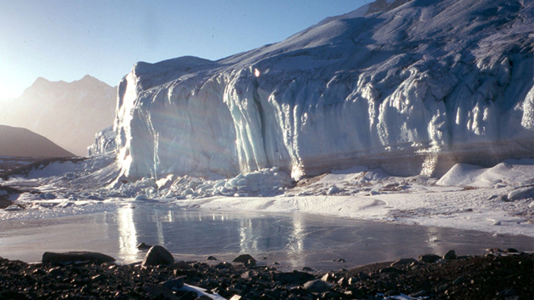 Sunlight plays off the Canada Glacier in the Wrigth Valley, one of the McMurdo Dry Valleys.