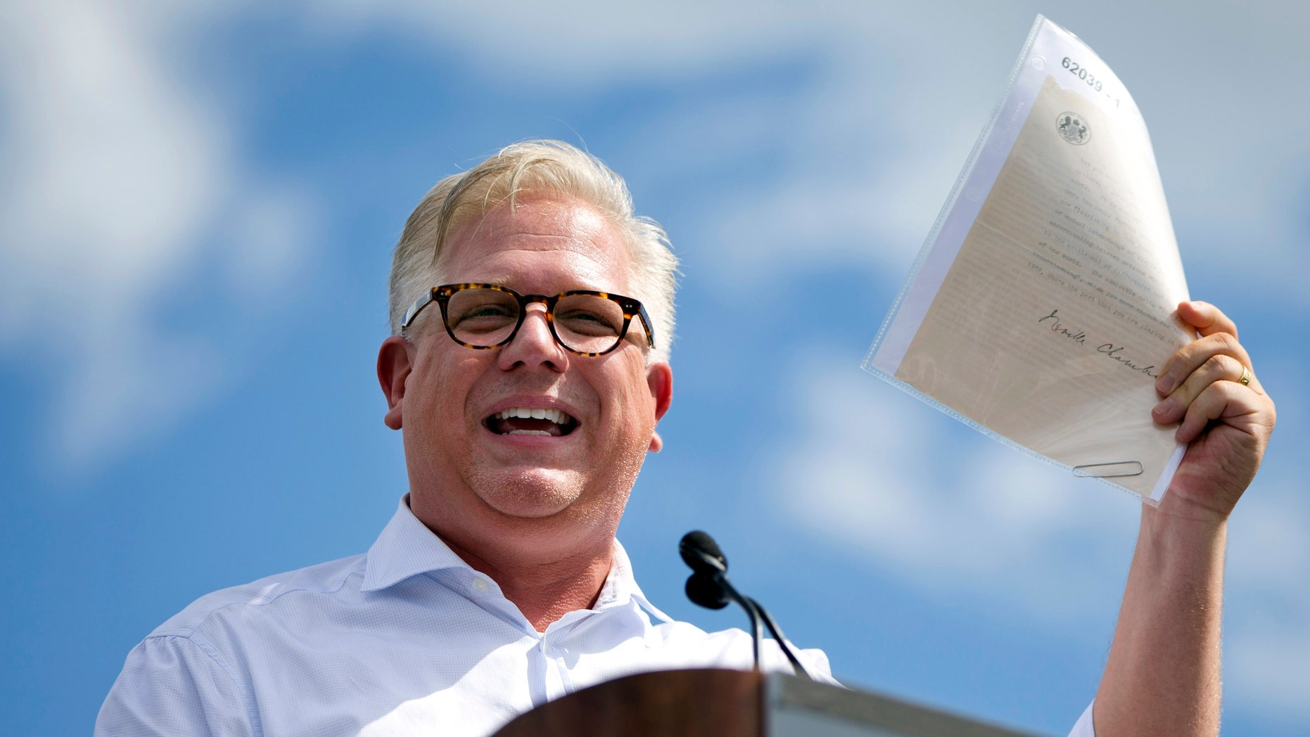 FILE - In this Wednesday Sept. 9, 2015, file photo, radio host Glenn Beck speaks during a Tea Party rally against the Iran deal on the West Lawn of the Capitol in Washington. SiriusXM announced May 31, 2016, that Beck was being suspended over his comments in a May 25, 2016, interview with author Brad Thor. (AP Photo/Jacquelyn Martin, File)