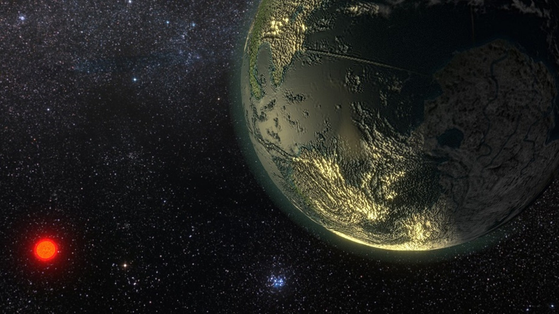 Artist's concept of the probable planet orbiting a star called Gliese 411, or GJ 411. (Courtesy of Ricardo Ramirez)