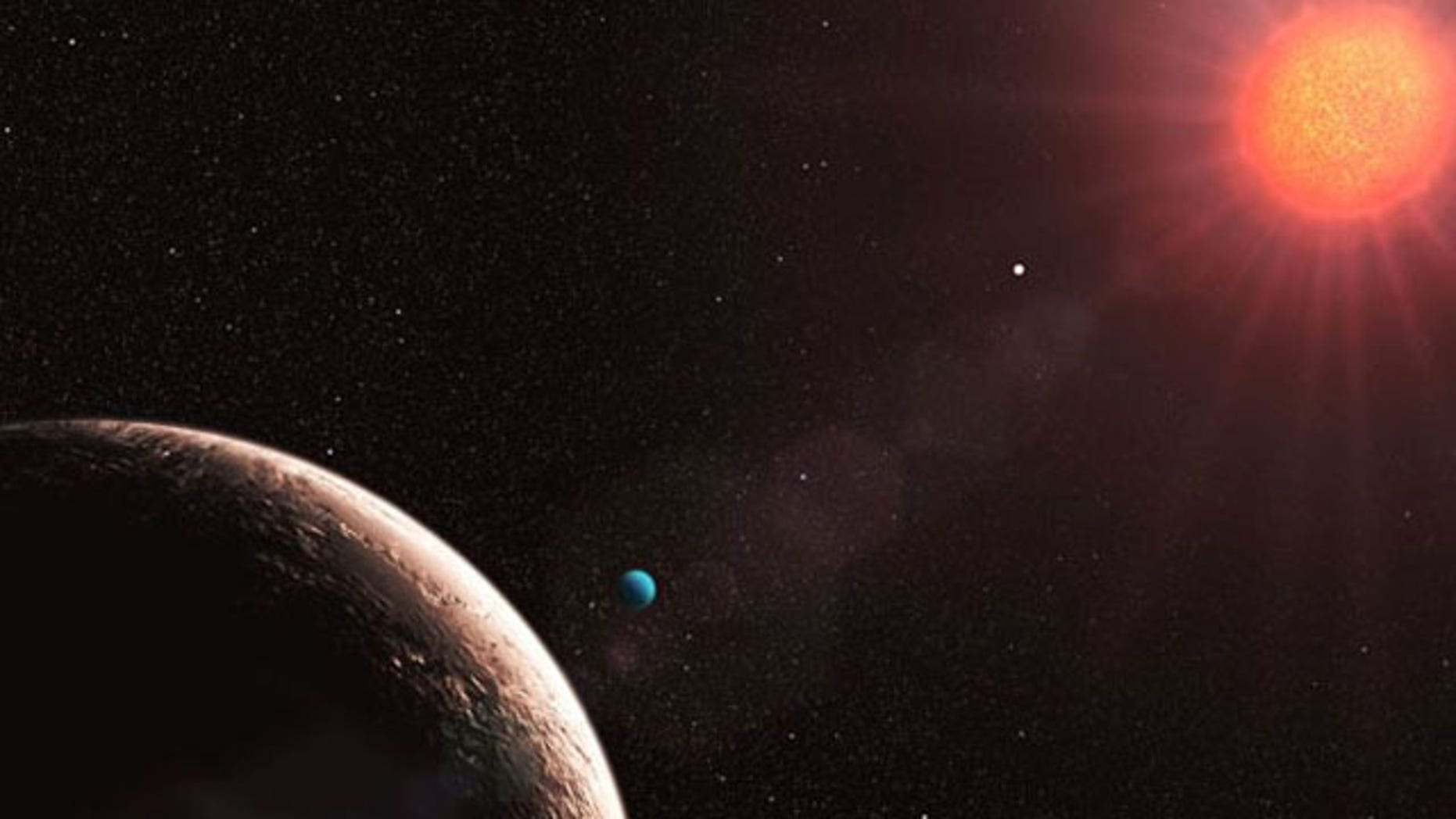 Astronomers have discovered many planets orbiting the star Gliese 581. This artist's representation shows Gliese 581e (foreground), which is only about twice the mass of our Earth. Other confirmed planets in the system are 16 (planet b, nearest to the star), 5 (planet c, center), and 7 Earth-masses (planet d, with the bluish color).