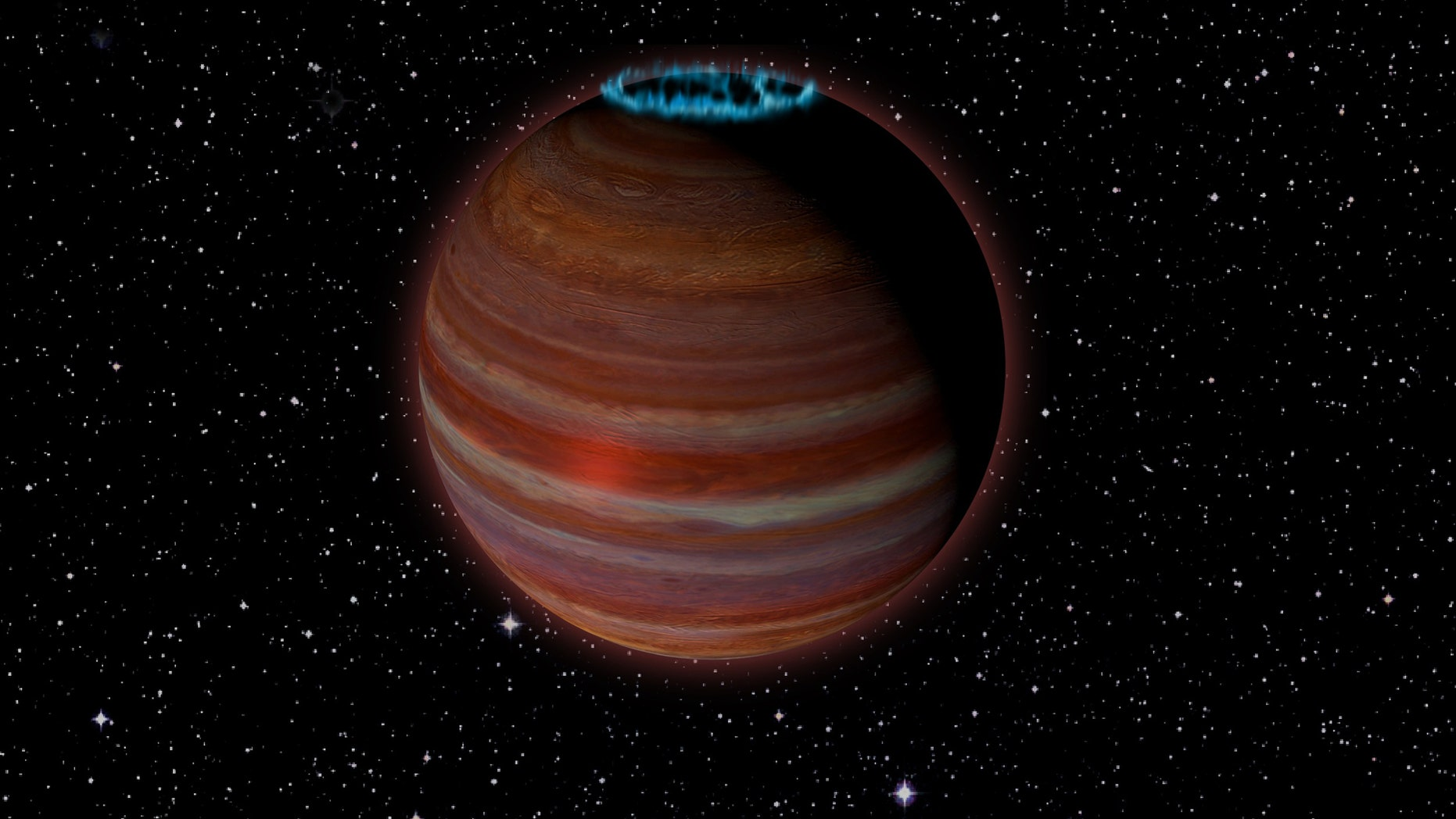 Artist's conception of SIMP J01365663+0933473, an object with 12.7 times the mass of Jupiter, but a magnetic field 200 times more powerful than Jupiter's. This object is 20 light-years from Earth. Credit: Caltech/Chuck Carter; NRAO/AUI/NSF