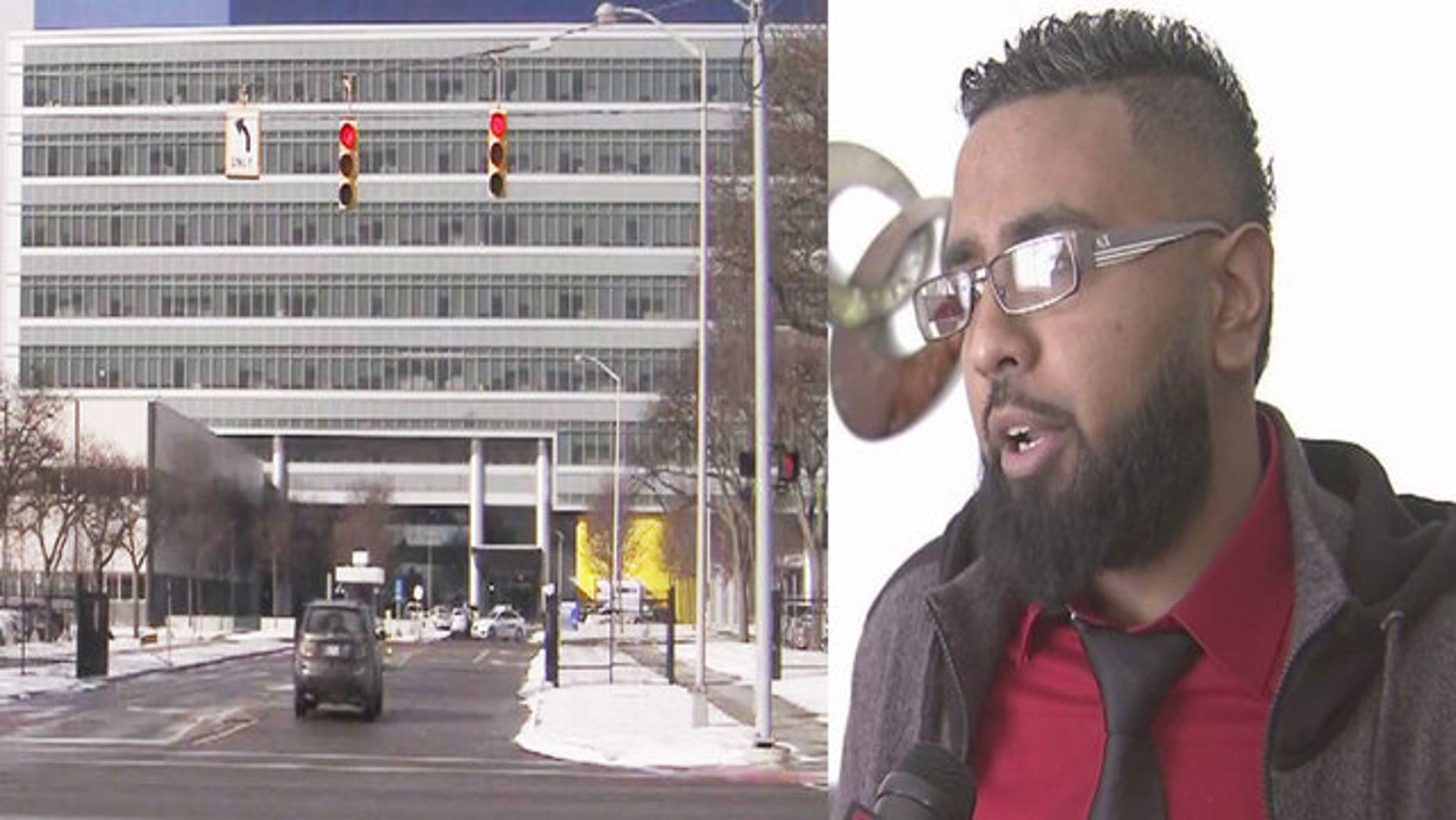 The General Motors Technical Center, left, where Didarul Sarder, right, stopped a stabbing attack.