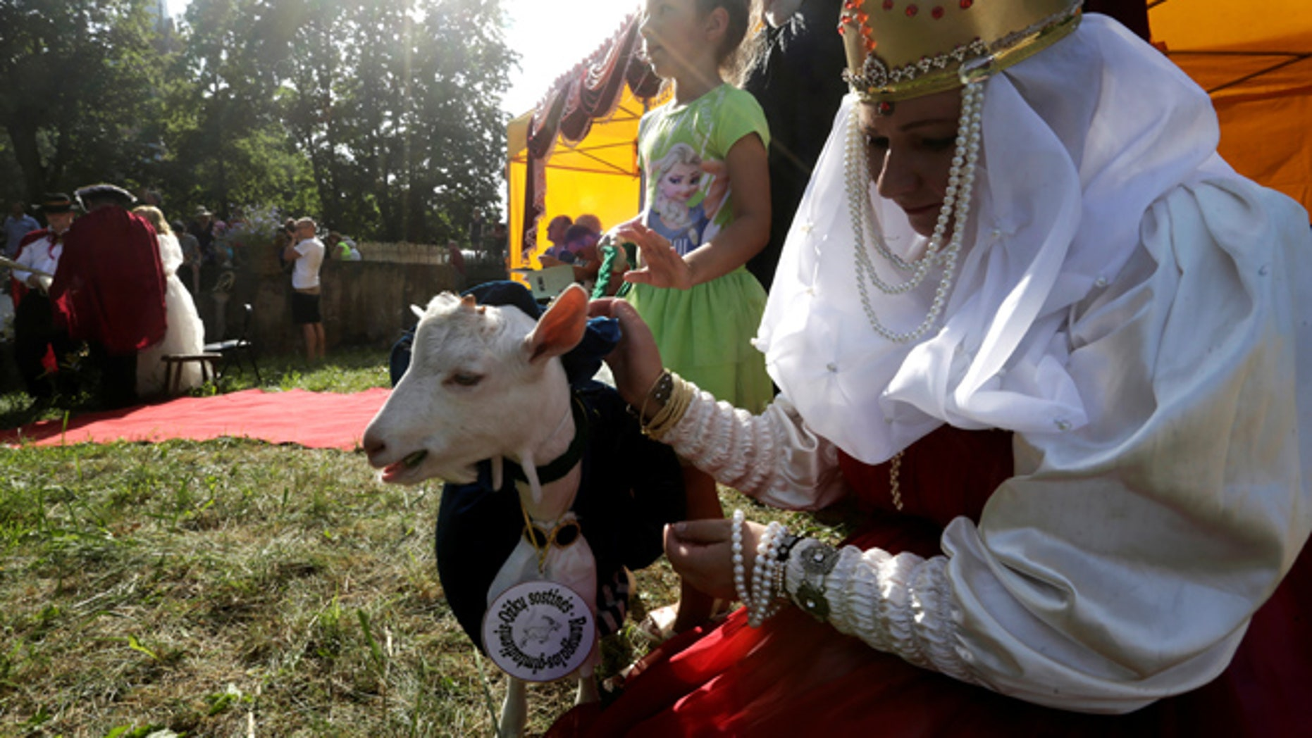 A woman in medieval attire comforts a goat during the goat beauty pageant in Ramygala, Lithuania, June 26, 2016.