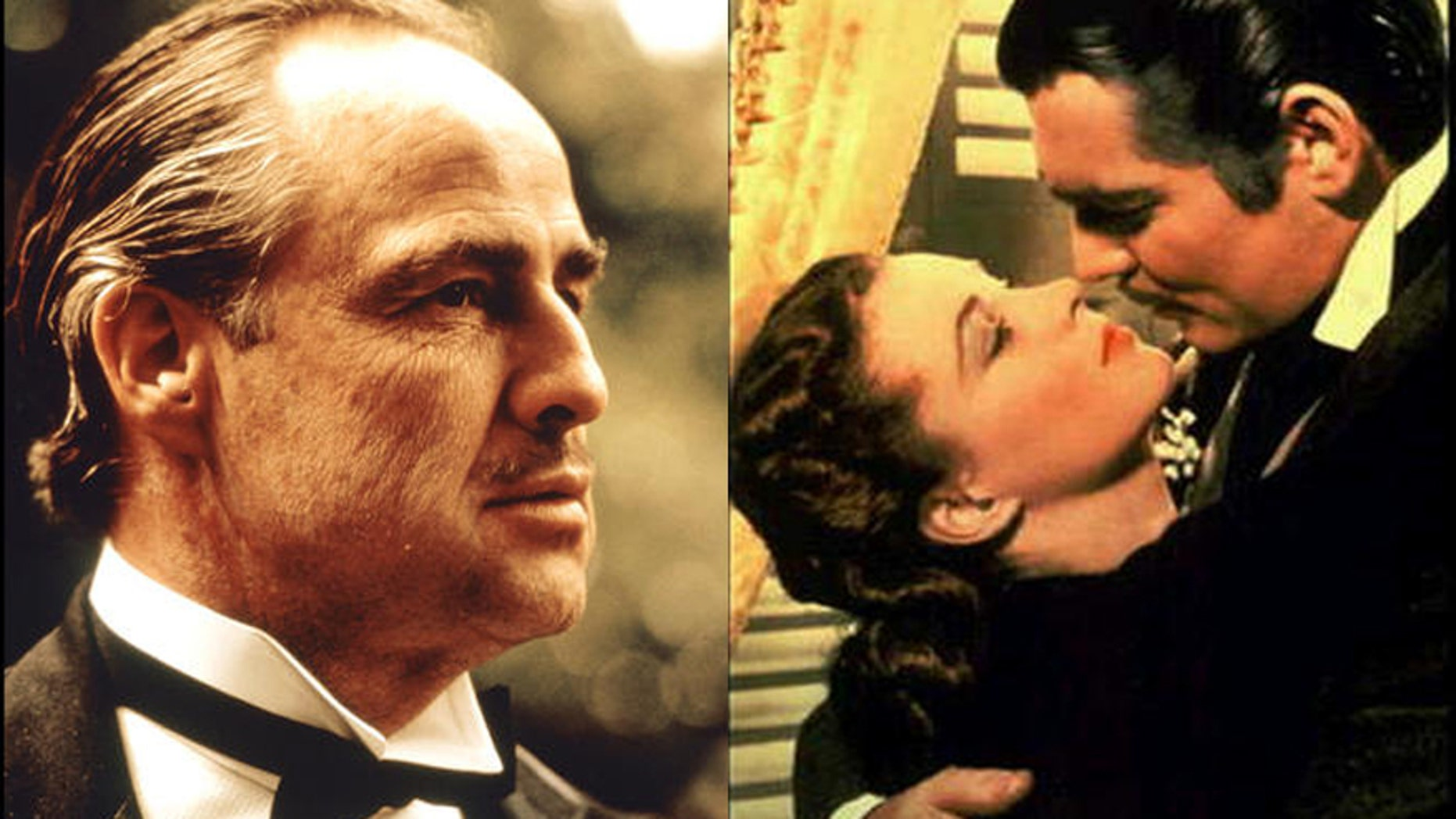 "Marlon Brando as Don Vito Corleone in scene from movie ""The Godfather,"" left, and Vivien Leigh and Clark Gable in ""Gone With the Wind."""