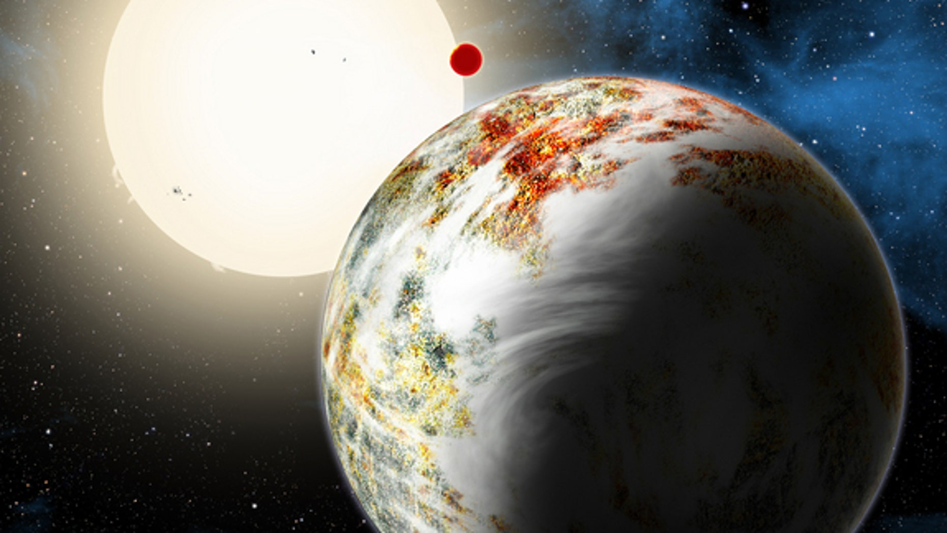 "An artist's illustration of the mega-Earth planet Kepler-10c, the""Godzilla of Earths"" planet that is 2.3 times the size of Earth and 17 times heavier. The planet and its lava-world sibling Kepler 10b (background) orbit the star Kepler-10 about"