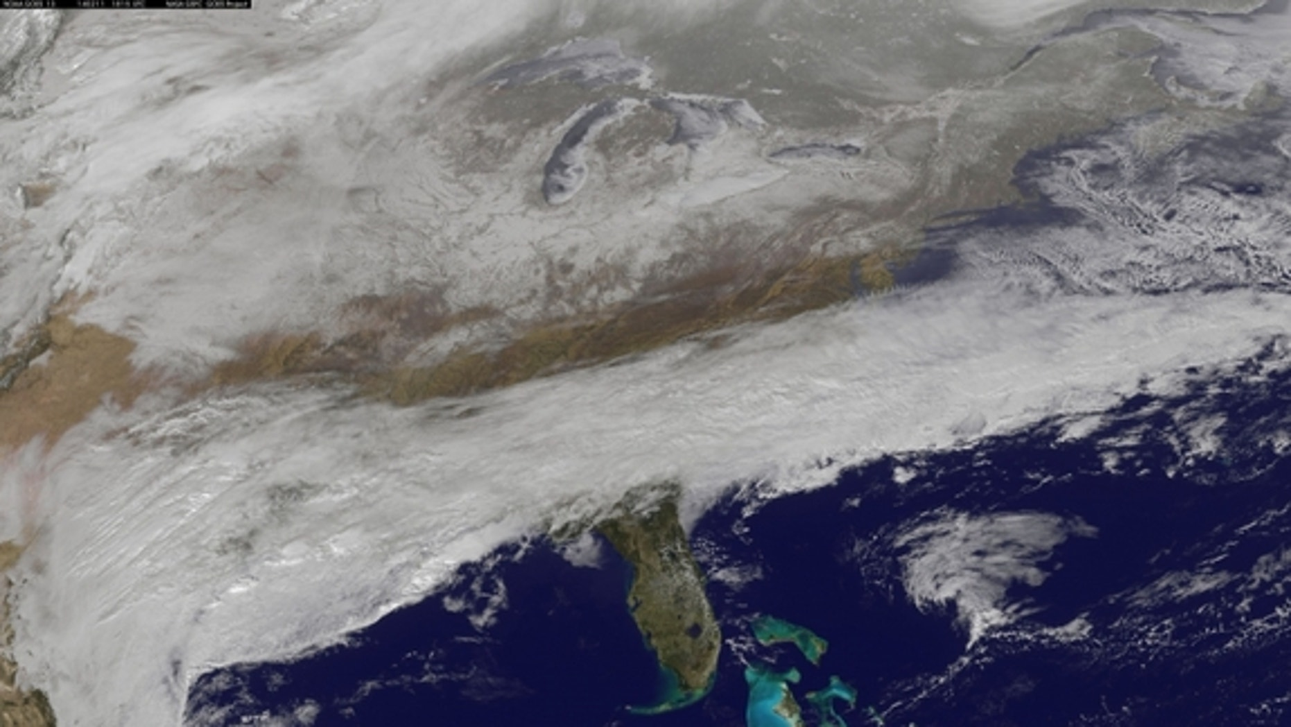 NOAA's GOES-East satellite captured this image of a storm over the southeastern U.S. on Feb. 11, 2014 at 1:15 p.m. EST (1815 UTC).