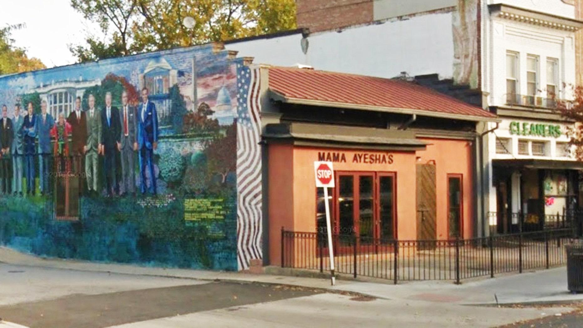 Mama Ayesha's restaurant in D.C.'s trendy Adams Morgan neighborhood serves Middle Eastern cuisine.