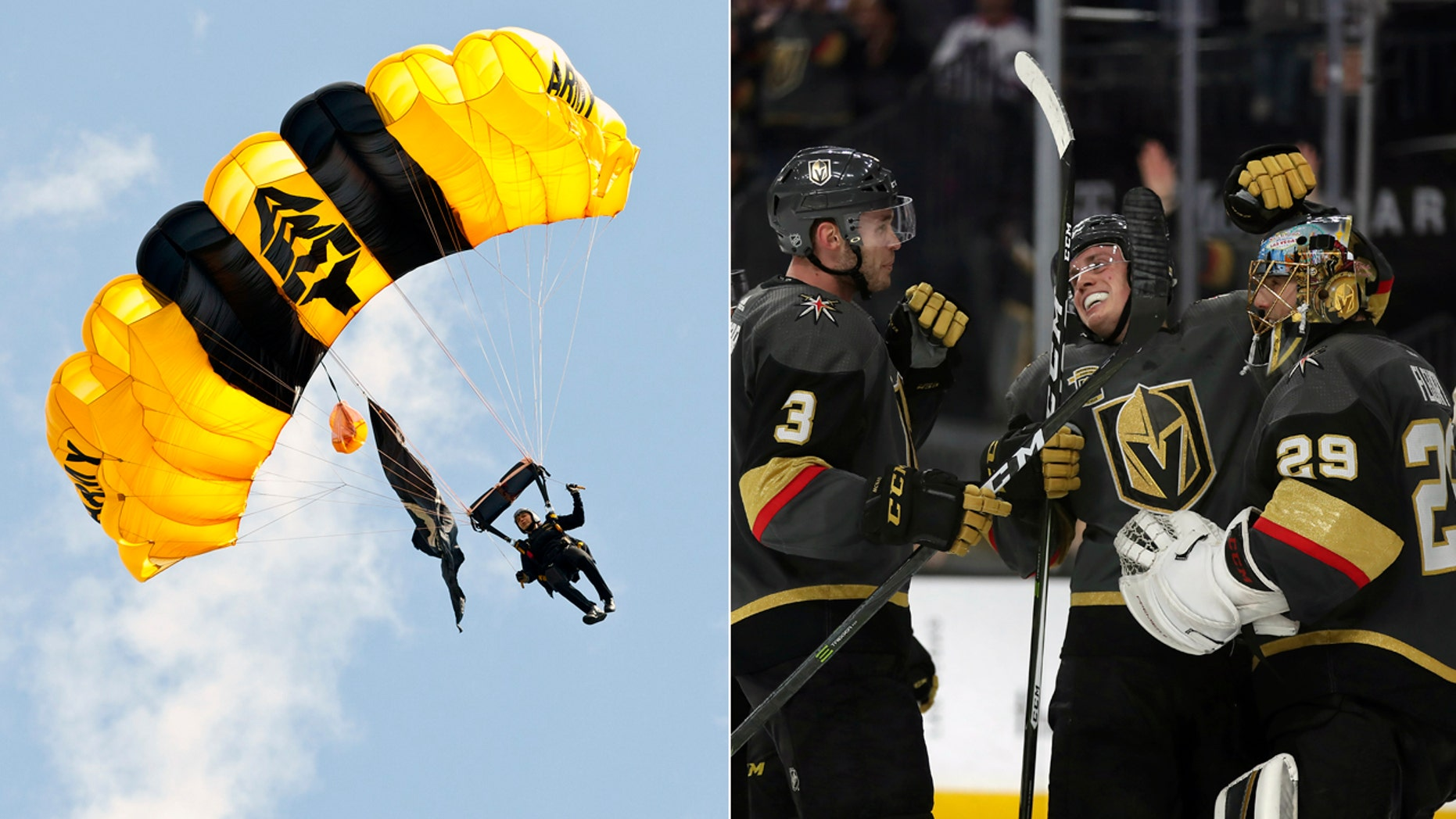 At left, a U.S. Army Golden Knight. At right, the Vegas Golden Knights.