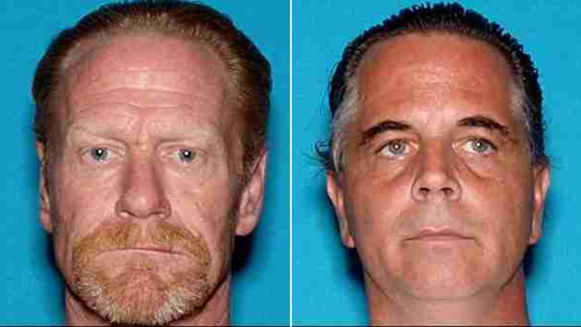 This image provided by the Siskiyou County Sheriff's office shows Scott Wayne Bailey and David Dean Johnson.