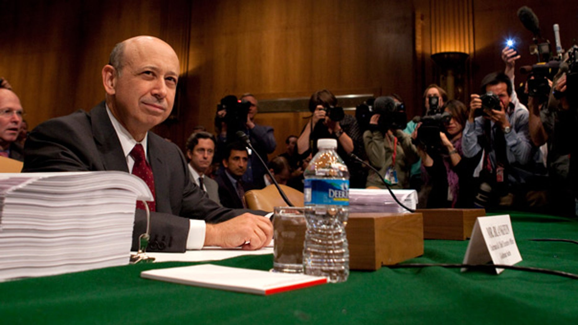 April 27: Goldman Sachs chairman and CEO Lloyd Blankfein testifies before the Senate on Capitol Hill.