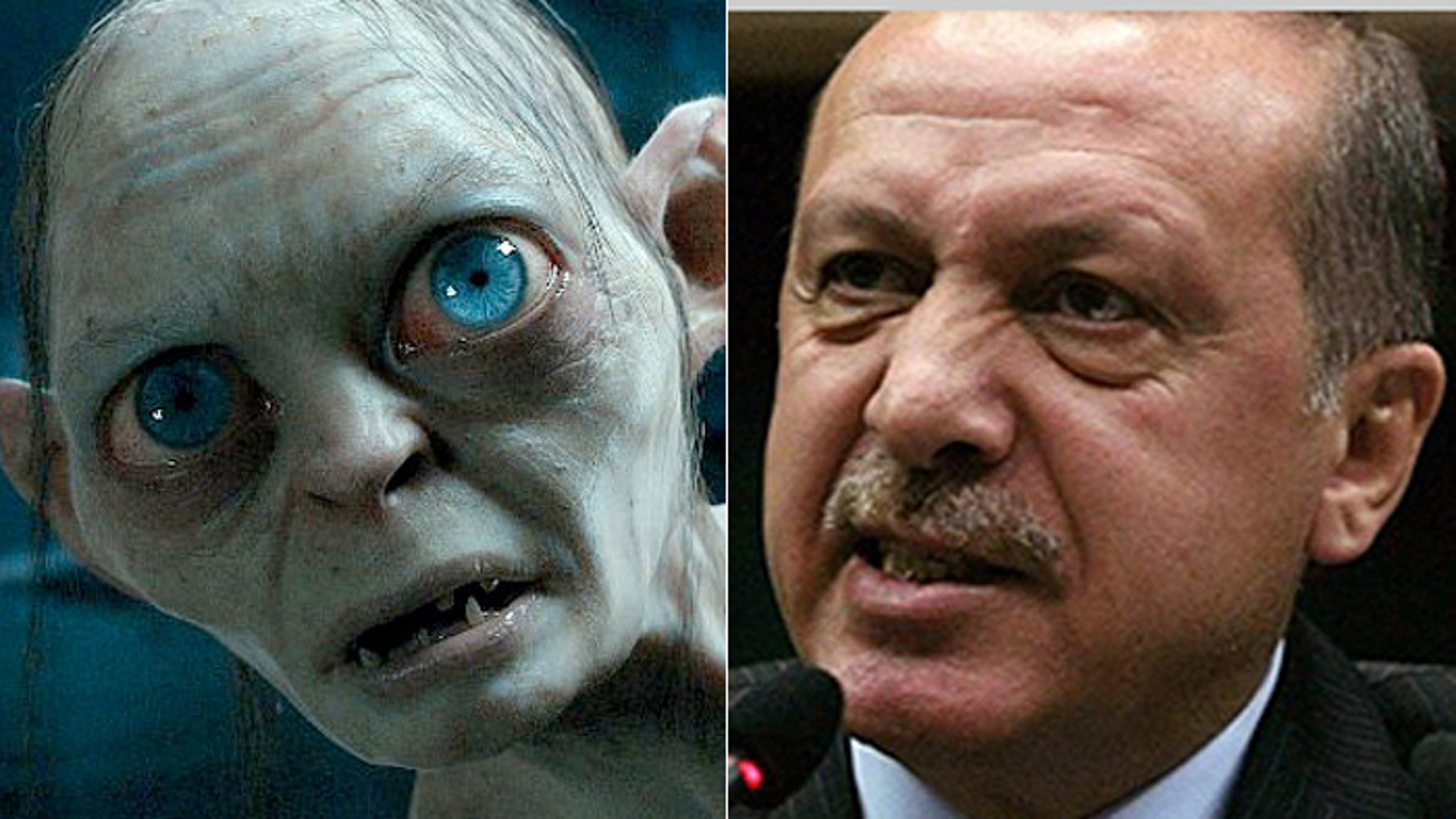 """A Turkish doctor faces prison time if it is proven that comparing President Erdogan, (r.), to """"Lord of the Rings"""" character Gollum, (l.), is indeed an insult."""
