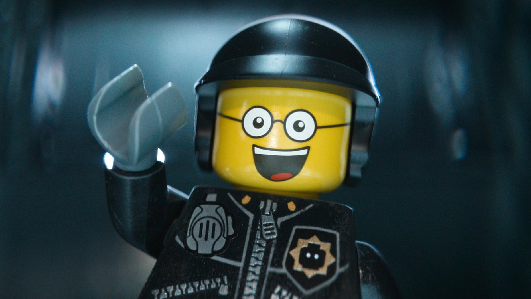 "Bad Cop/Good Cop, voiced by Liam Neeson, in a scene from ""The Lego Movie."""