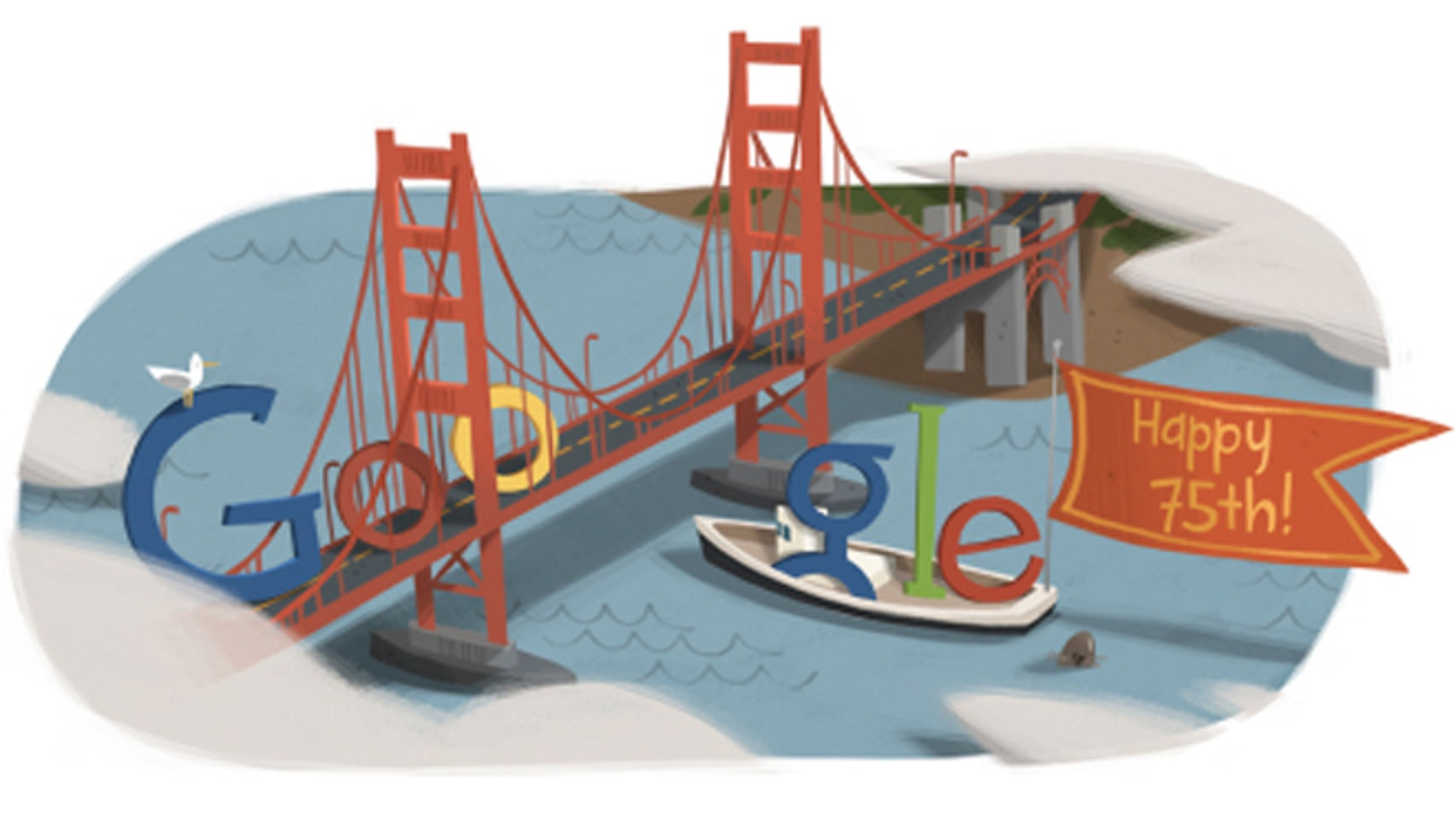 A 2012 Google Doodle celebrates the 75th anniversary of the Golden Gate Bridge.