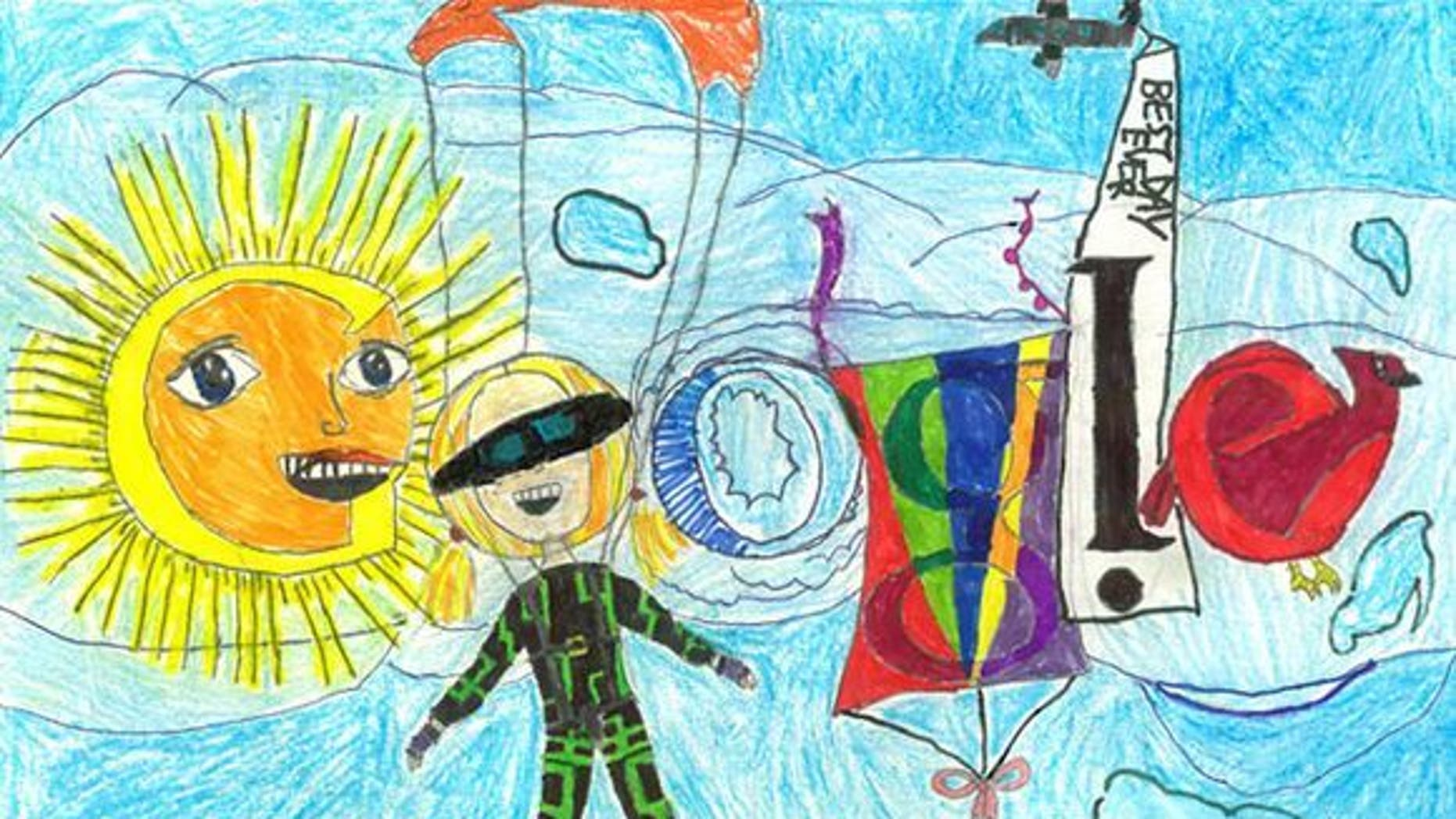 """Google 4 Doodle semifinalist Hope S. imagines her """"best day ever"""" would include skydiving."""