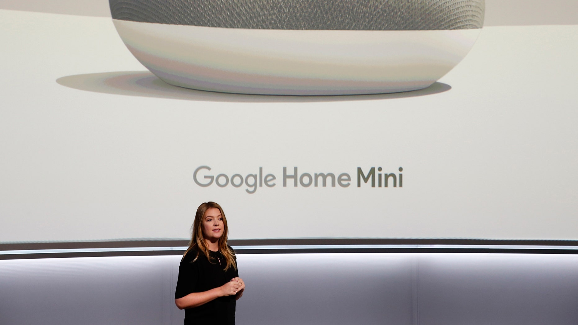 Isabelle Olsson, Google's Head of Industrial Design for Home, speaks about the Google Home Mini during a launch event in San Francisco, California, U.S. October 4, 2017. REUTERS/Stephen Lam - HP1EDA419Z335